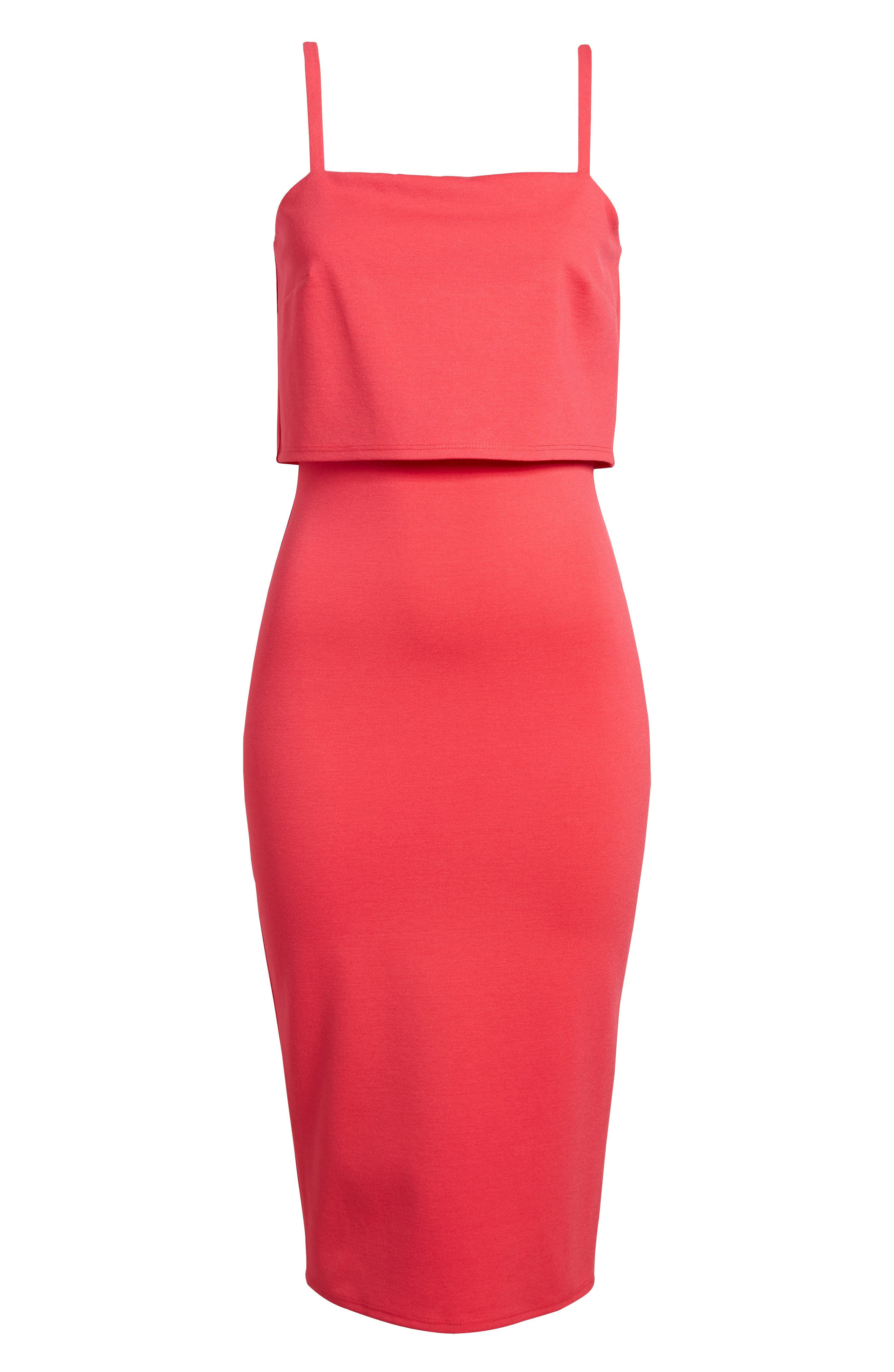 Popover Midi Body-Con Dress,                             Alternate thumbnail 7, color,                             Hibiscus