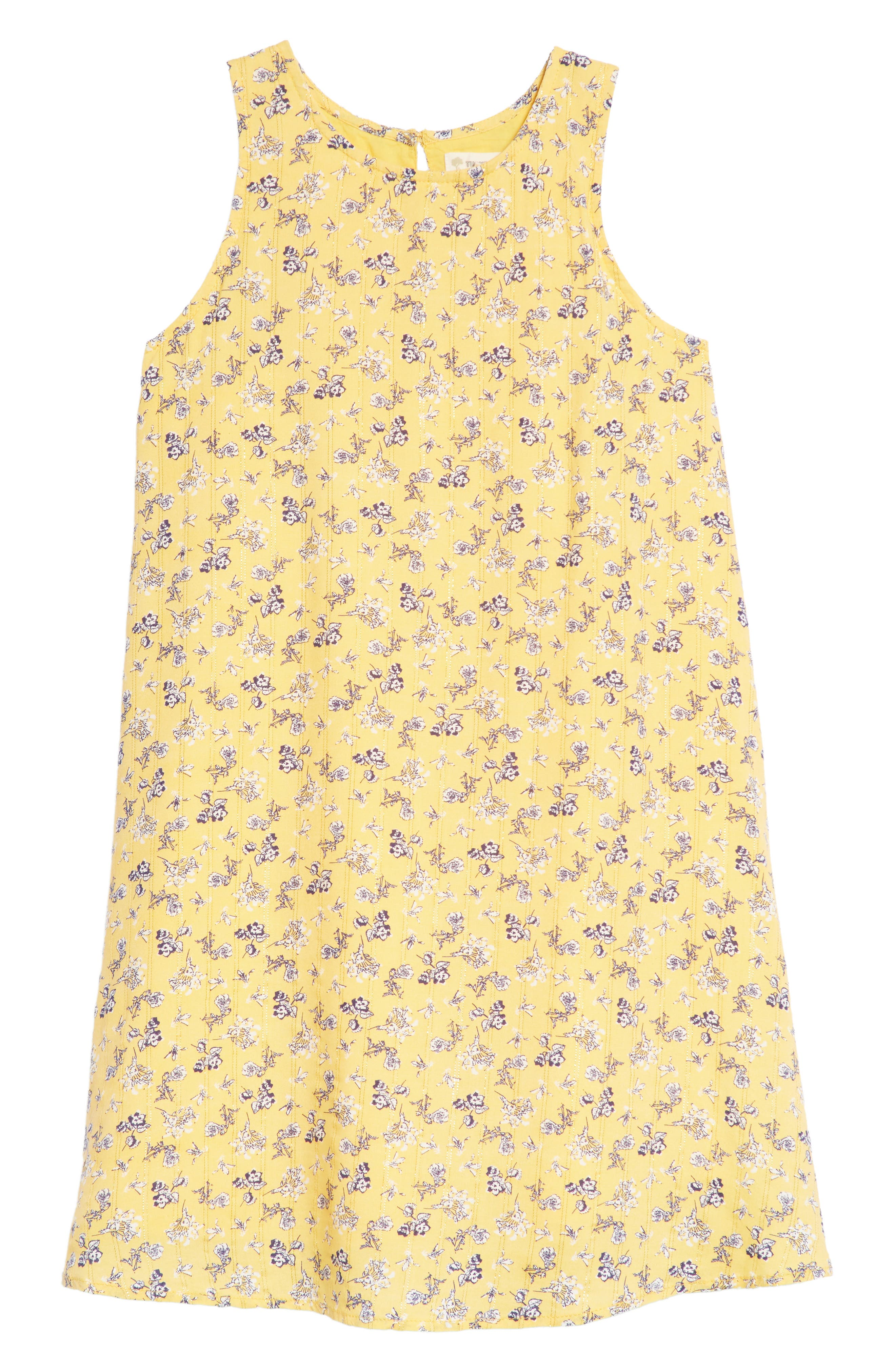 Floral Sleeveless Shift Dress,                         Main,                         color, Yellow Sunset Spring Blooms