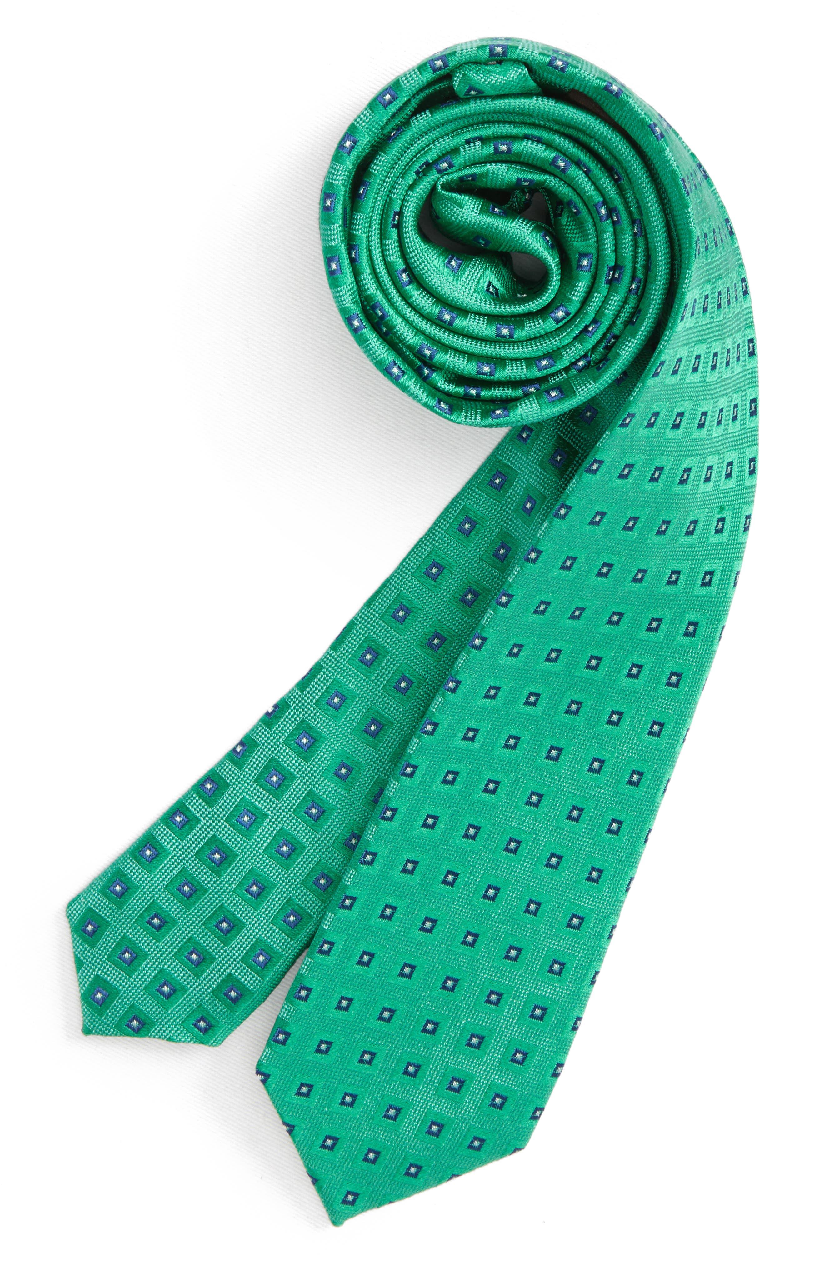Geometric Silk Tie,                         Main,                         color, Green