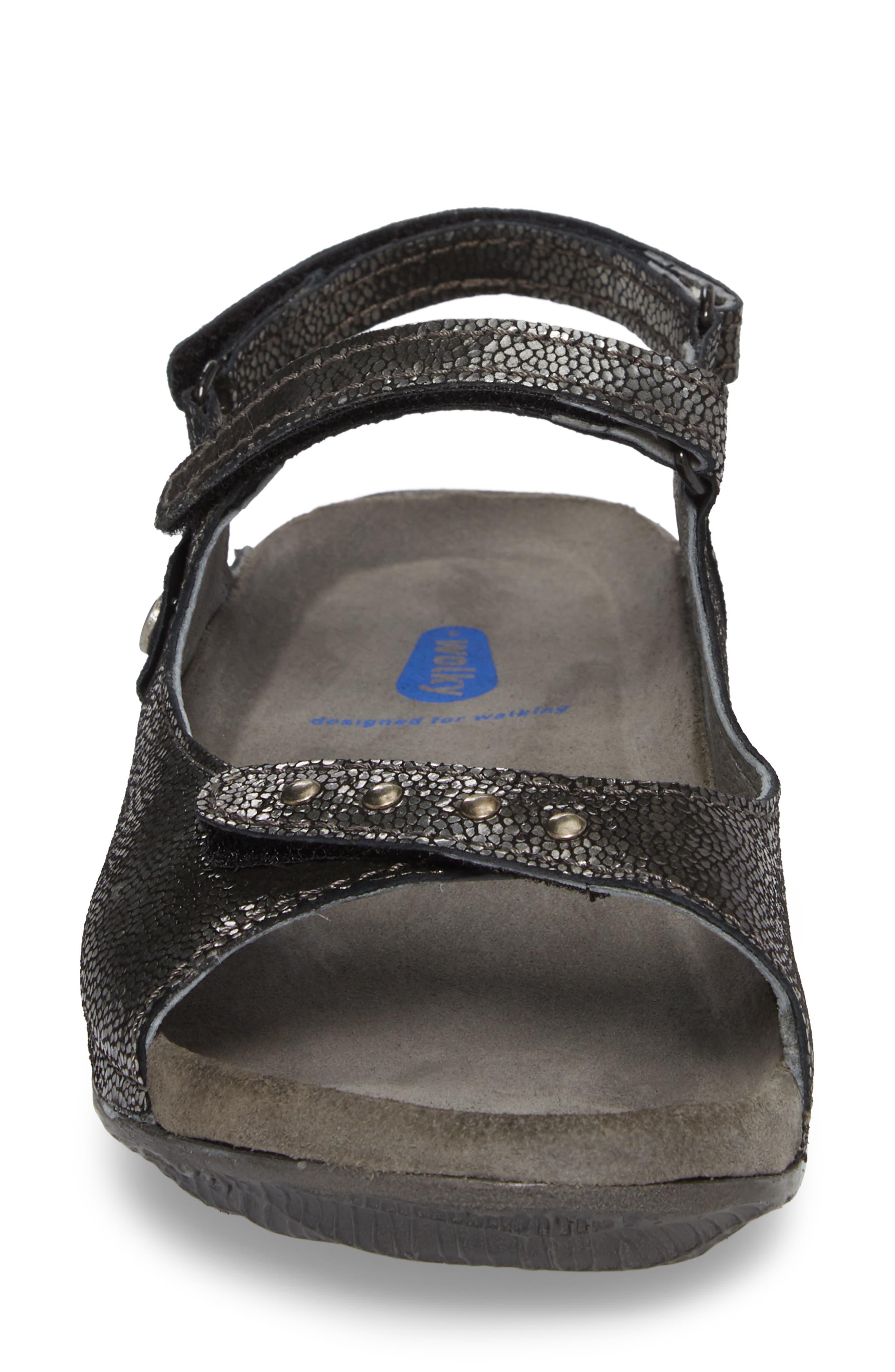 Cortez Sandal,                             Alternate thumbnail 4, color,                             Black Leather