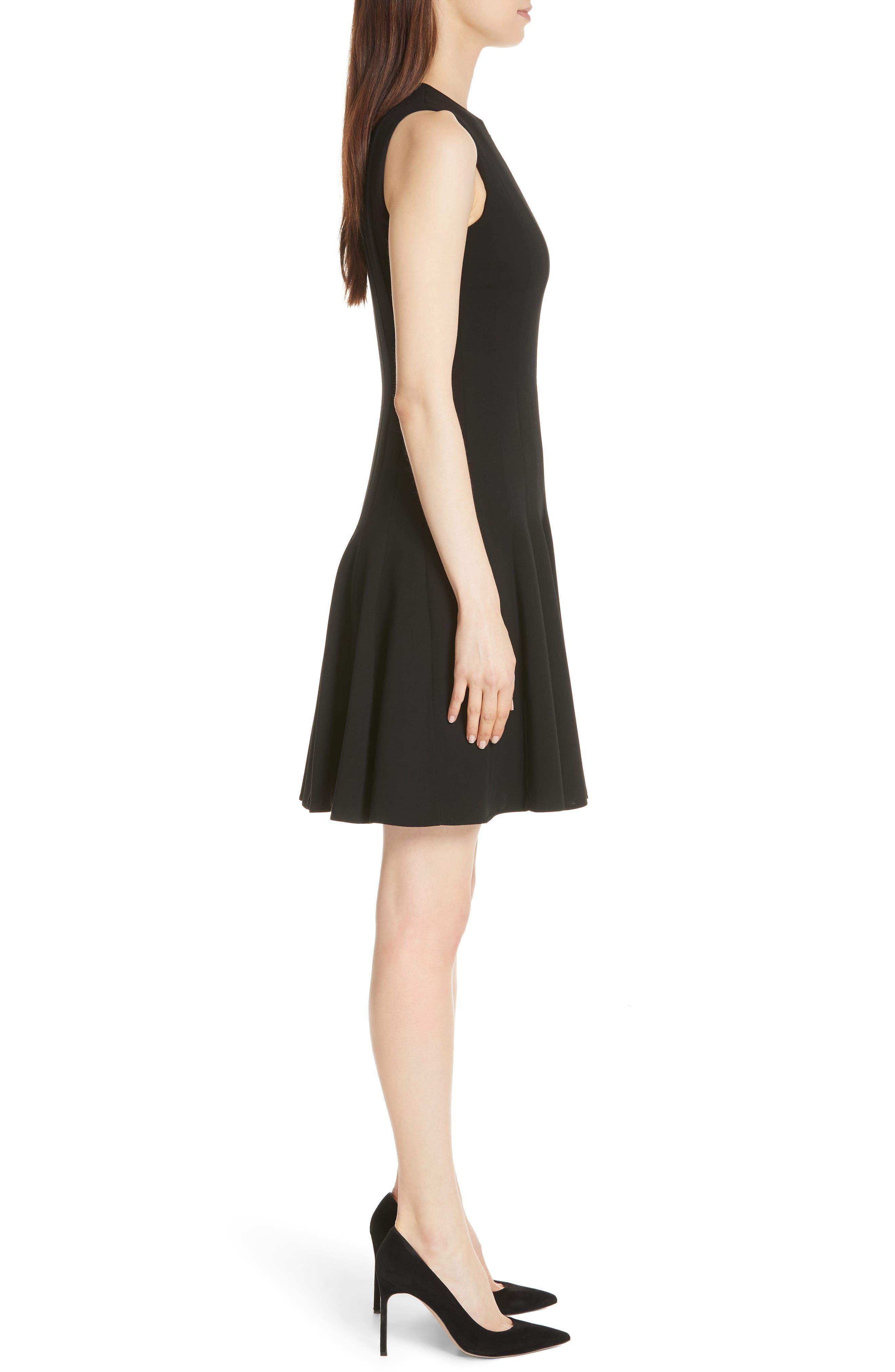 Sleeveless Godet Pleat Dress,                             Alternate thumbnail 3, color,                             Black