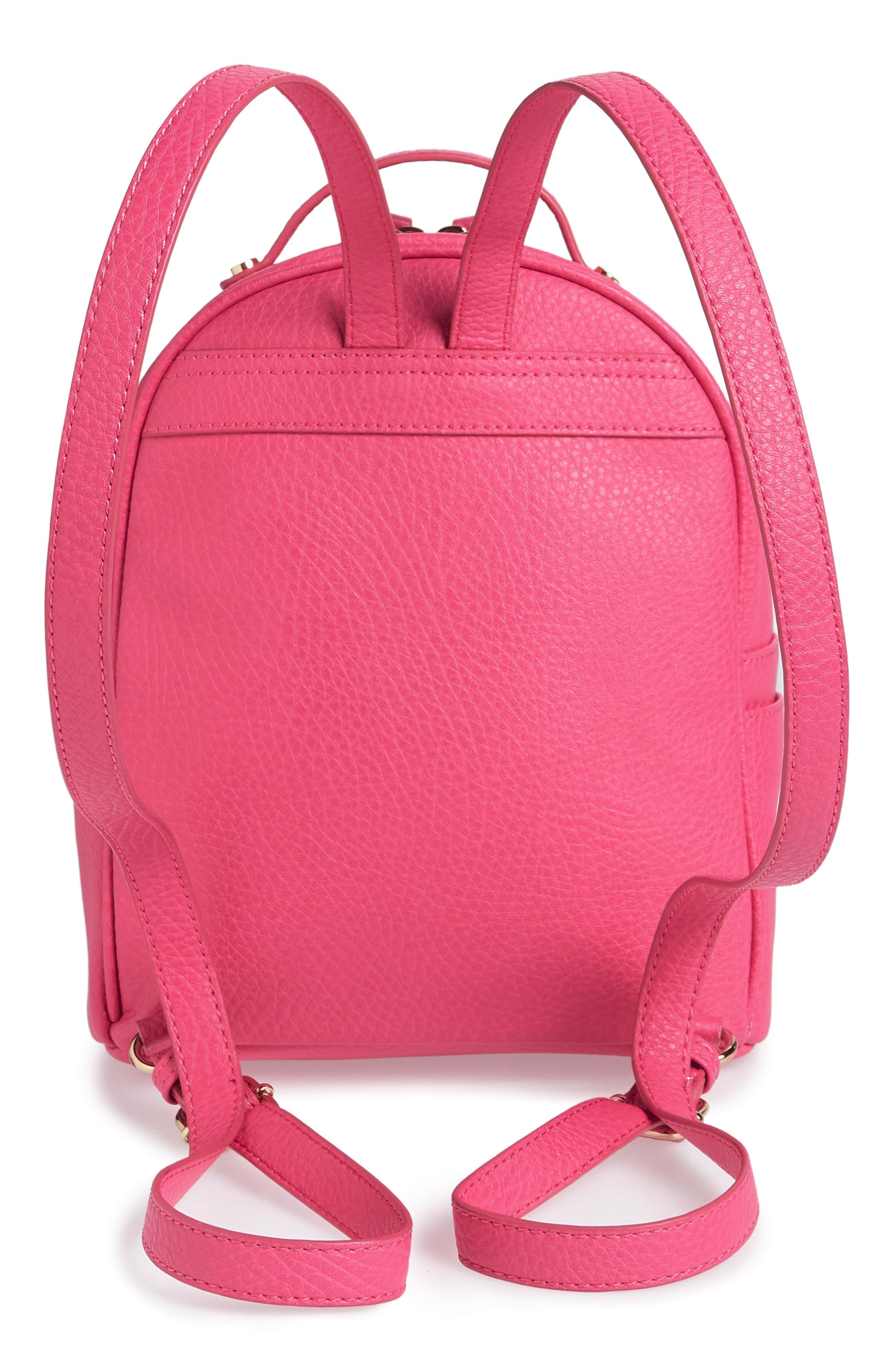 Mali + Lili Hannah Vegan Leather Backpack,                             Alternate thumbnail 3, color,                             Hot Pink