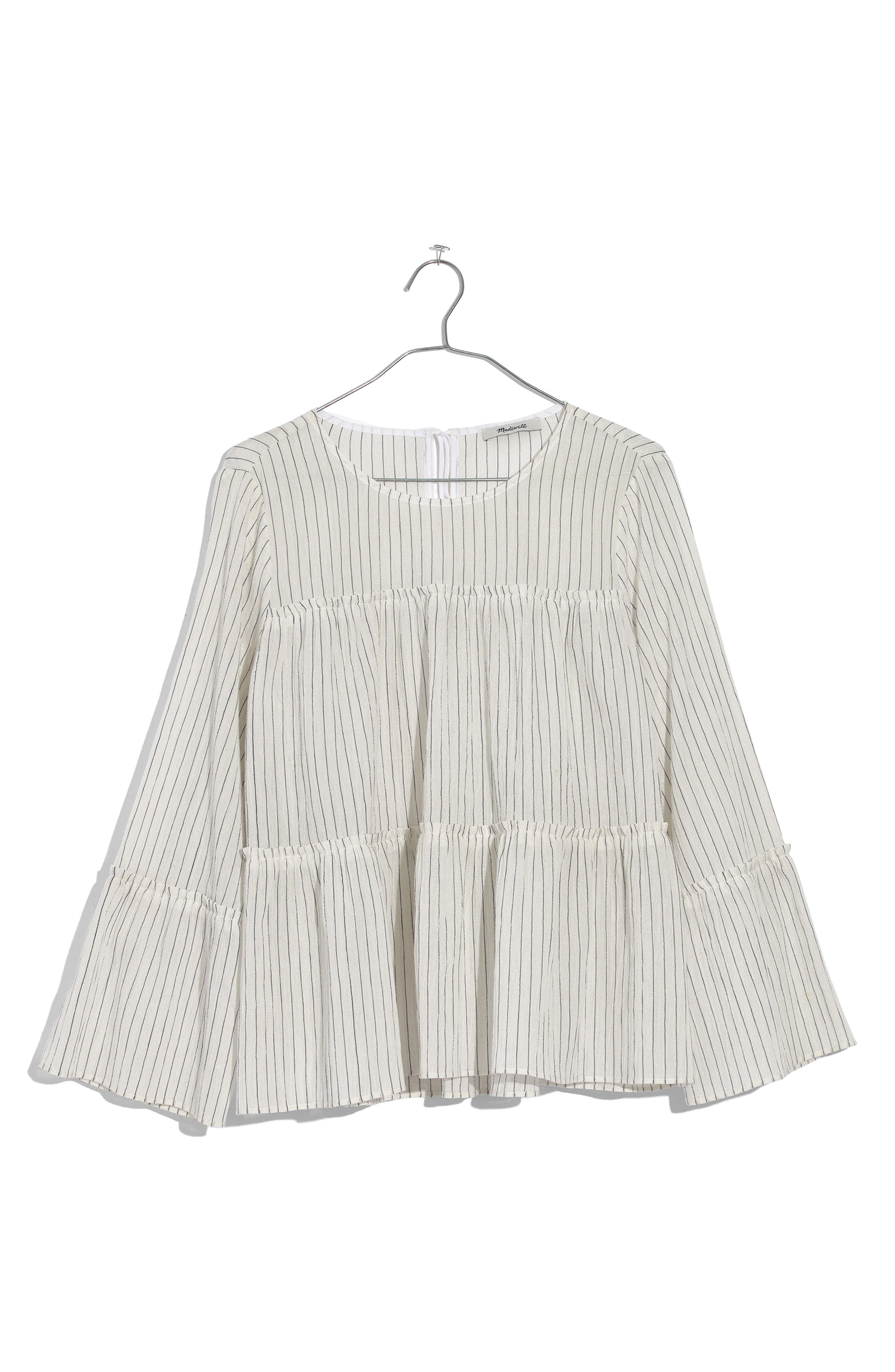 Stripe Tiered Top,                             Alternate thumbnail 3, color,                             White Wash