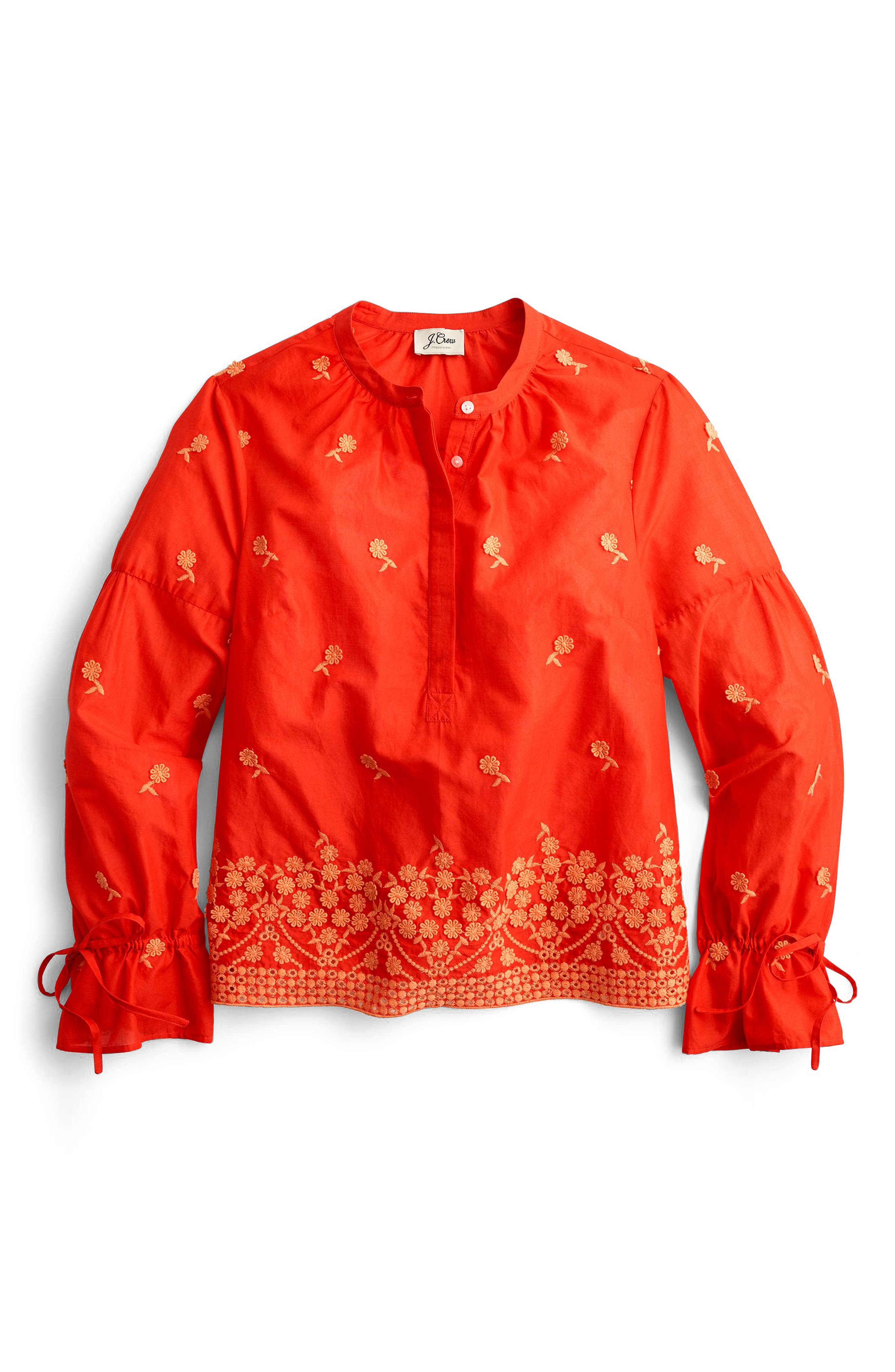 Floral Embroidered Popover Blouse,                             Alternate thumbnail 3, color,                             Fiery Sunset