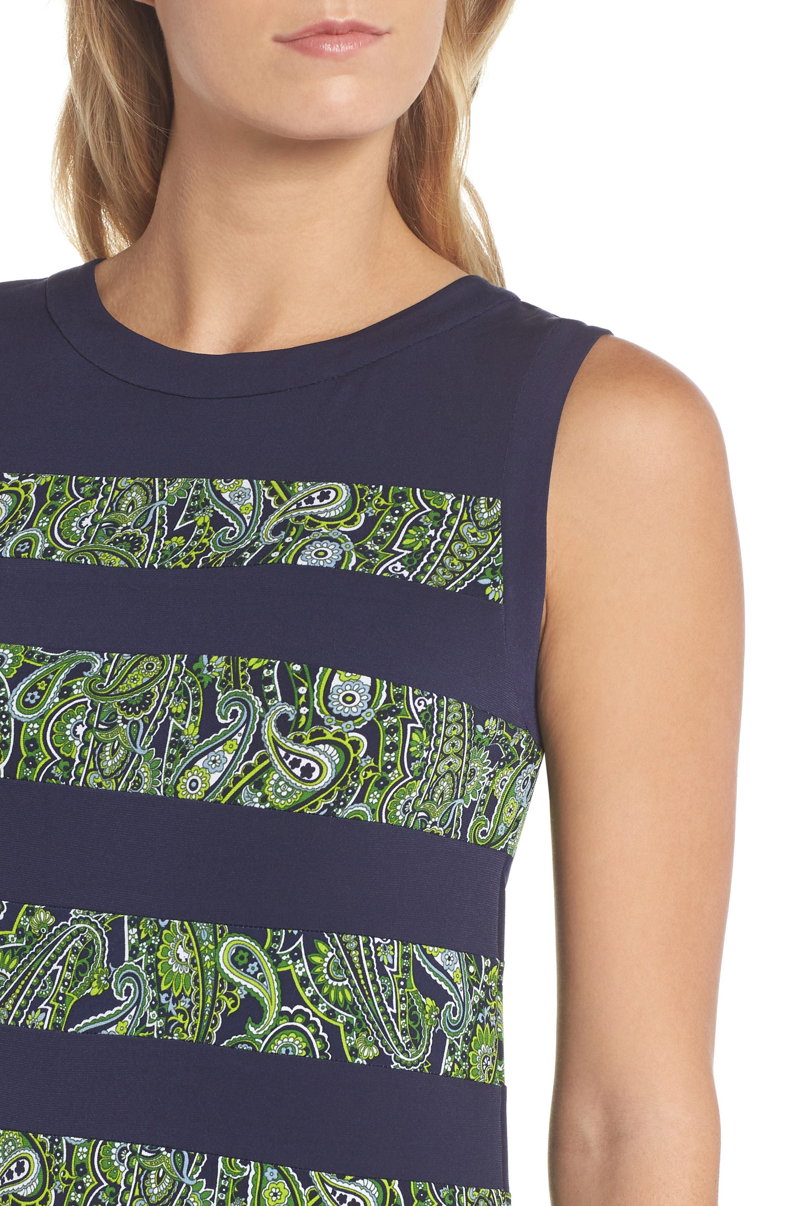 Paisley Paneled Dress,                             Alternate thumbnail 4, color,                             True Navy/ Green Apple Mu