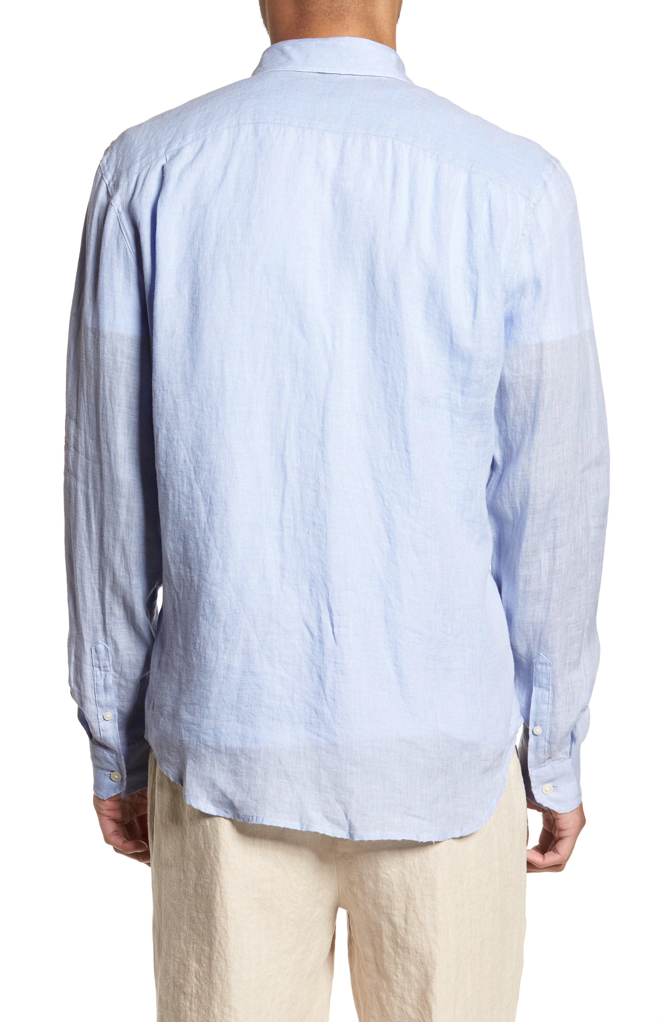 Washed Slim Fit Linen Sport Shirt,                             Alternate thumbnail 2, color,                             Feather