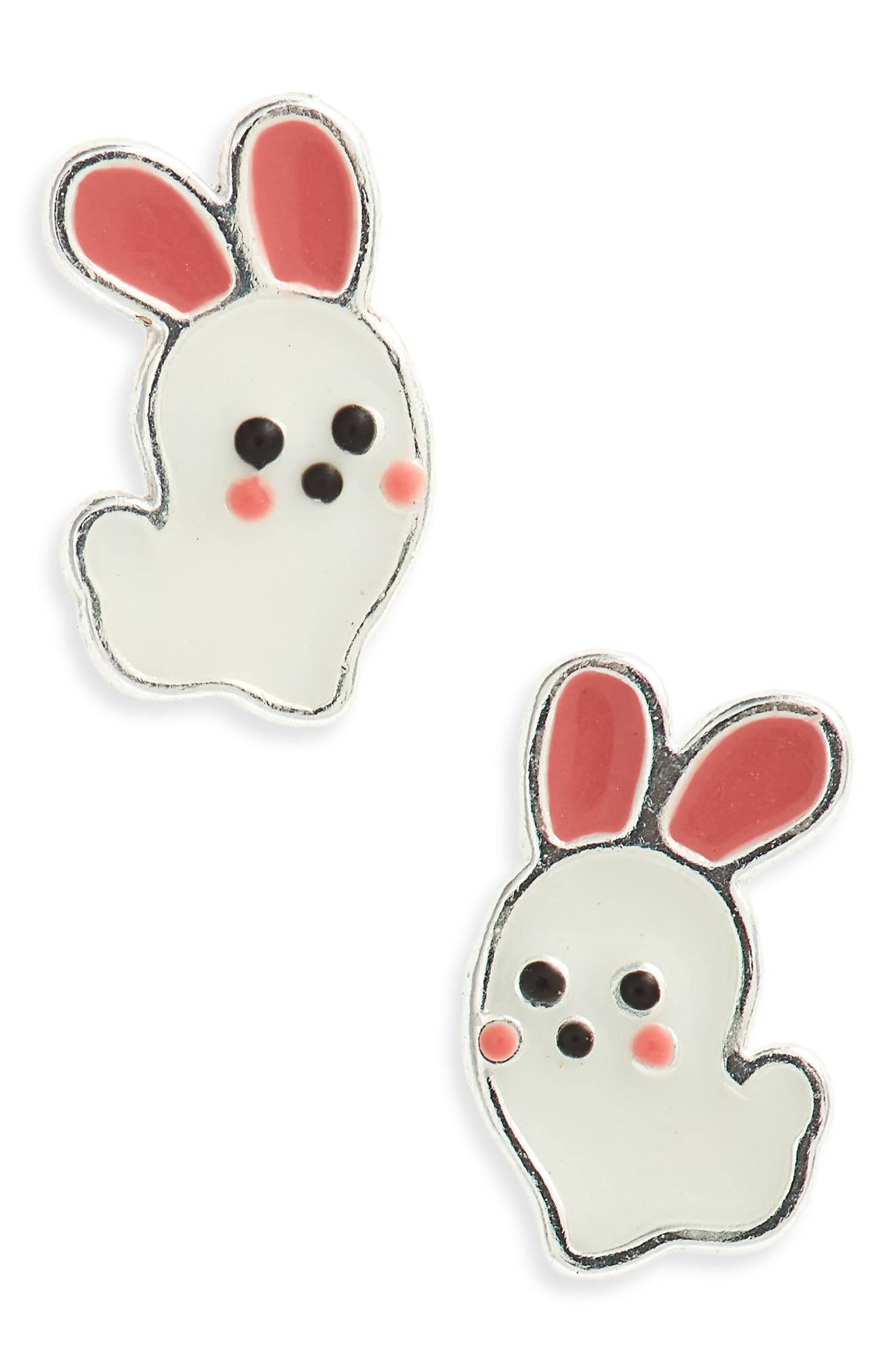 Pink Bunny Sterling Silver Stud Earrings,                             Main thumbnail 1, color,                             White