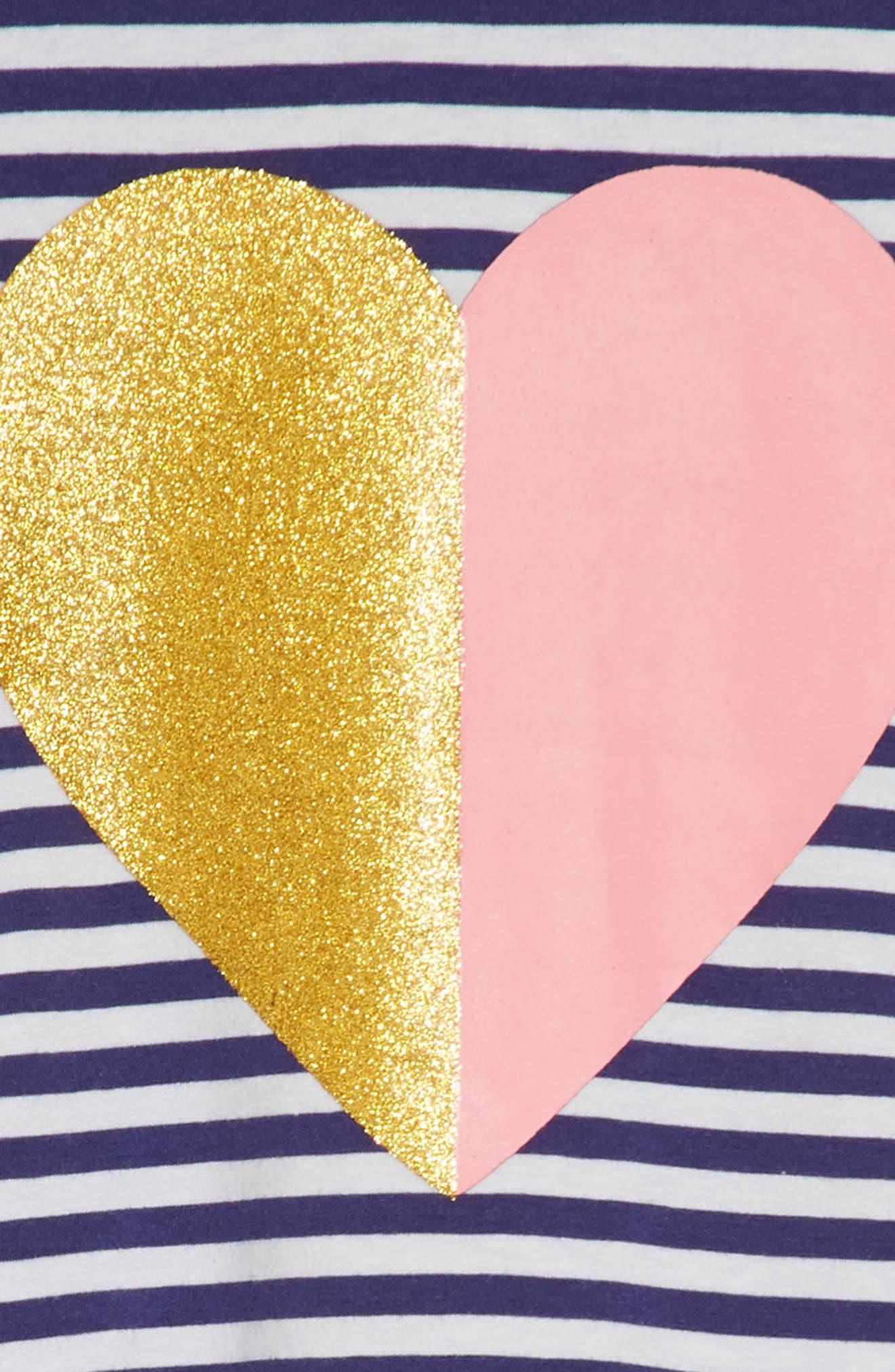 Graphic Stripe Dress,                             Alternate thumbnail 3, color,                             Navy Ribbon Sparkle Heart