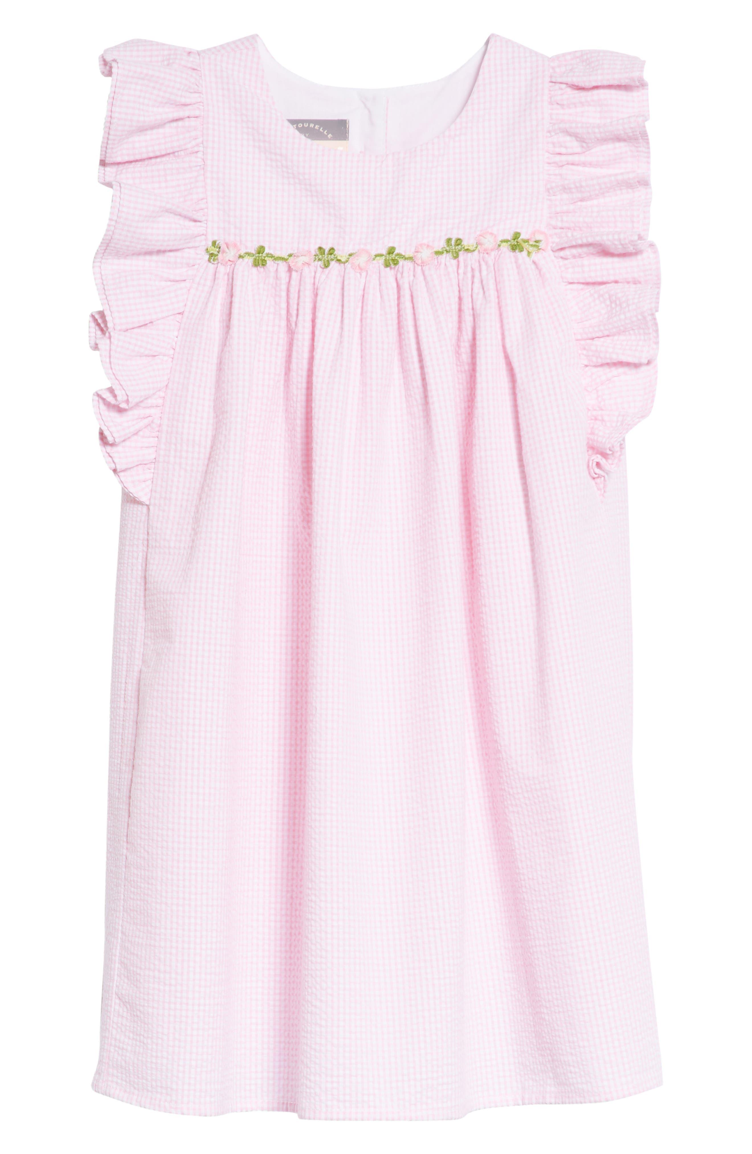 Seersucker Ruffle Sleeve Dress,                             Main thumbnail 1, color,                             Pink/ White