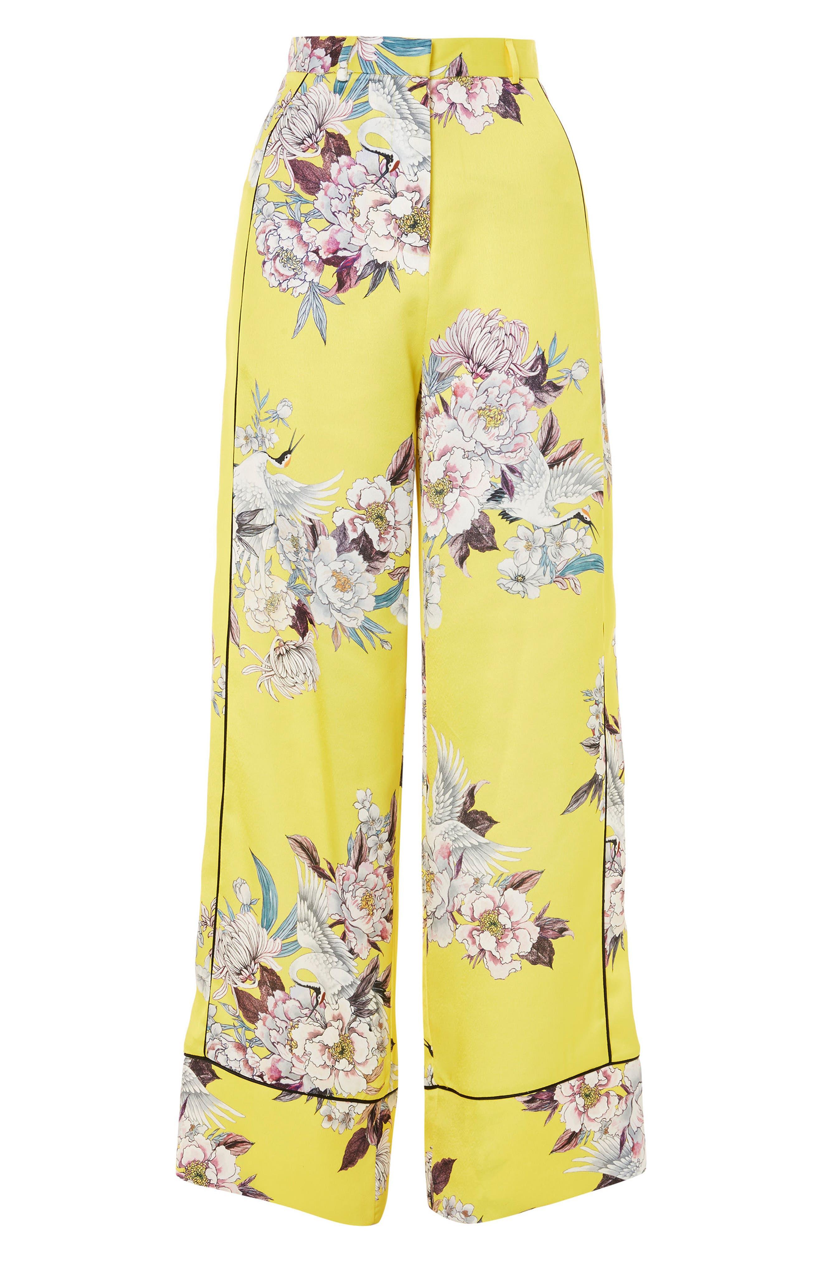 Heron Pajama Wide Leg Trousers,                             Alternate thumbnail 4, color,                             Yellow Multi