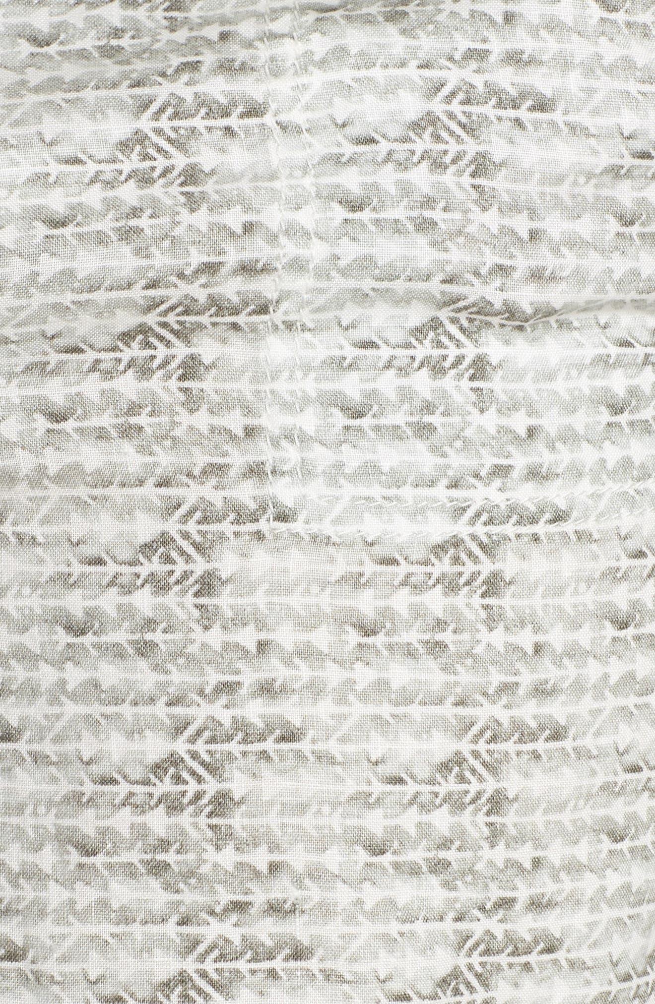 Linen Shorts,                             Alternate thumbnail 6, color,                             Ivory- Olive Diamond Direction