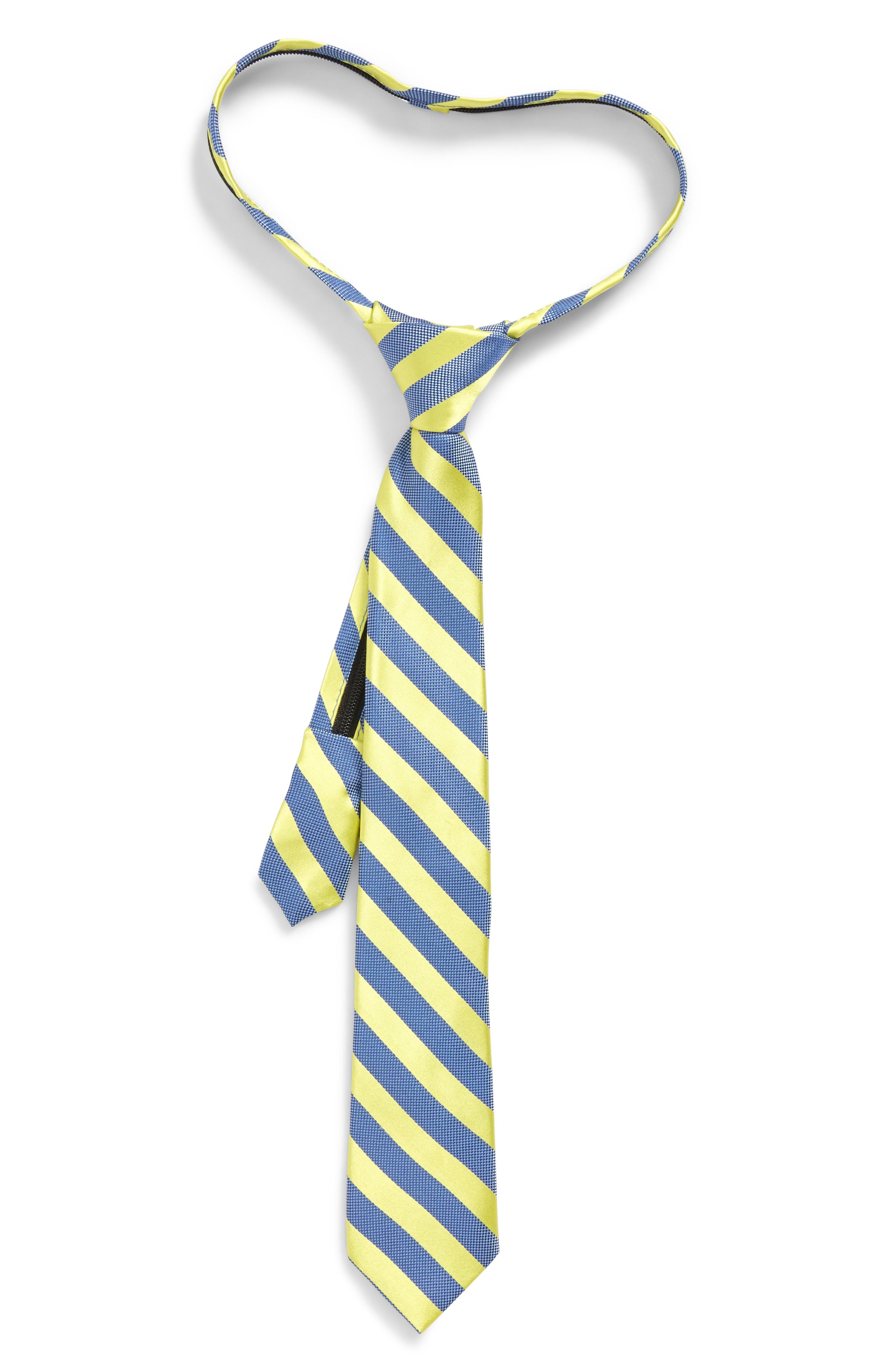 Stripe Silk Zip Tie,                             Main thumbnail 1, color,                             Bright Yellow