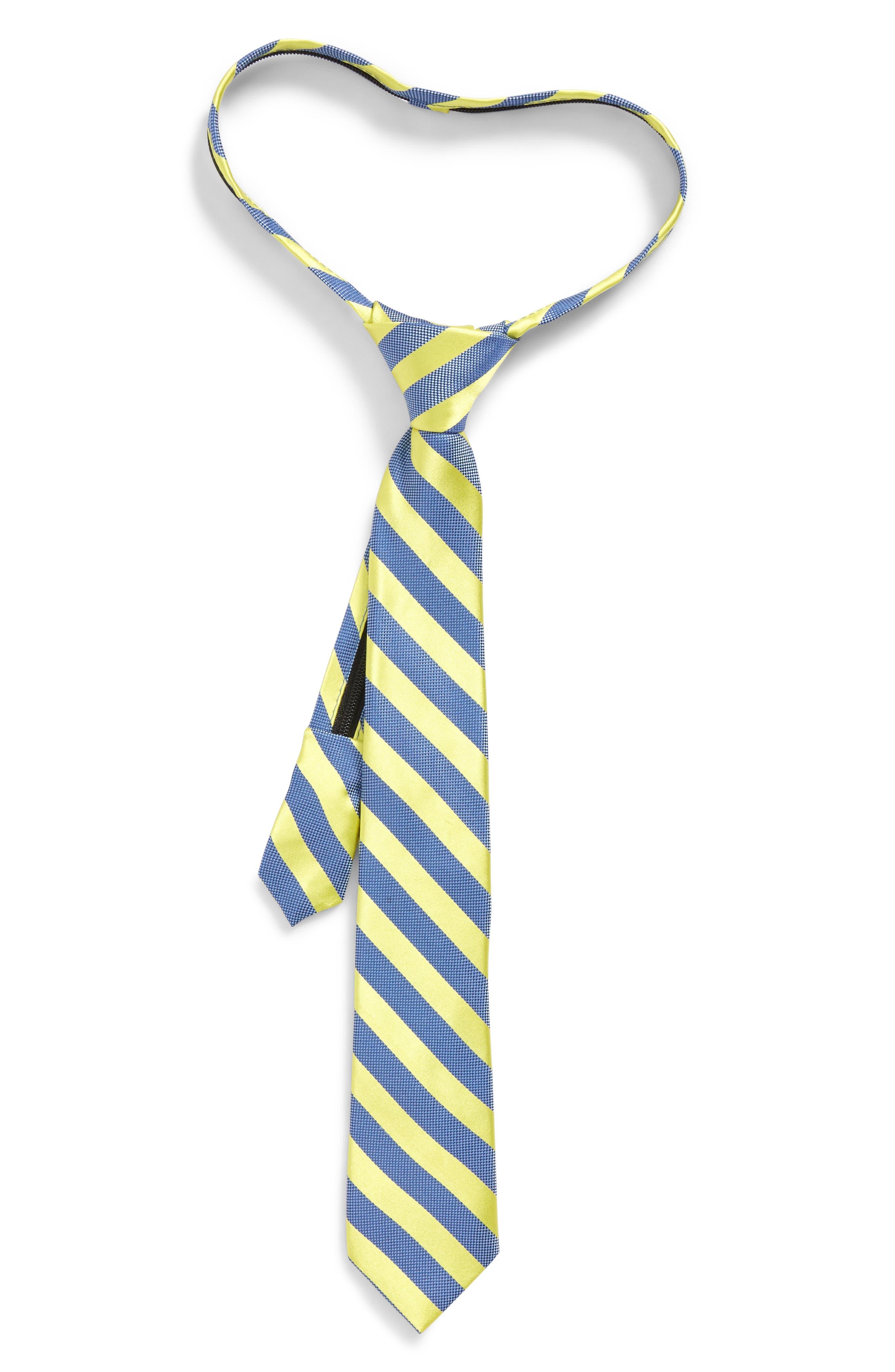 Stripe Silk Zip Tie,                         Main,                         color, Bright Yellow