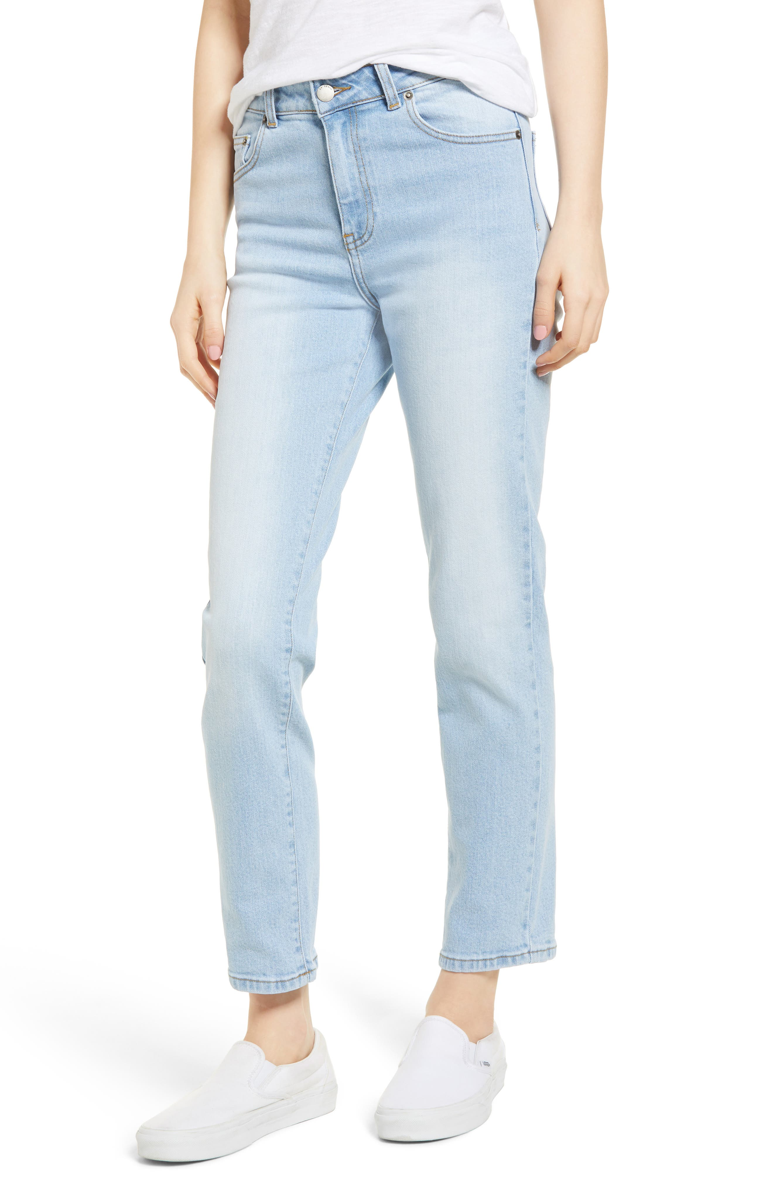 Edie High Waist Crop Straight Leg Jeans,                             Main thumbnail 1, color,                             Shaded Light Blue