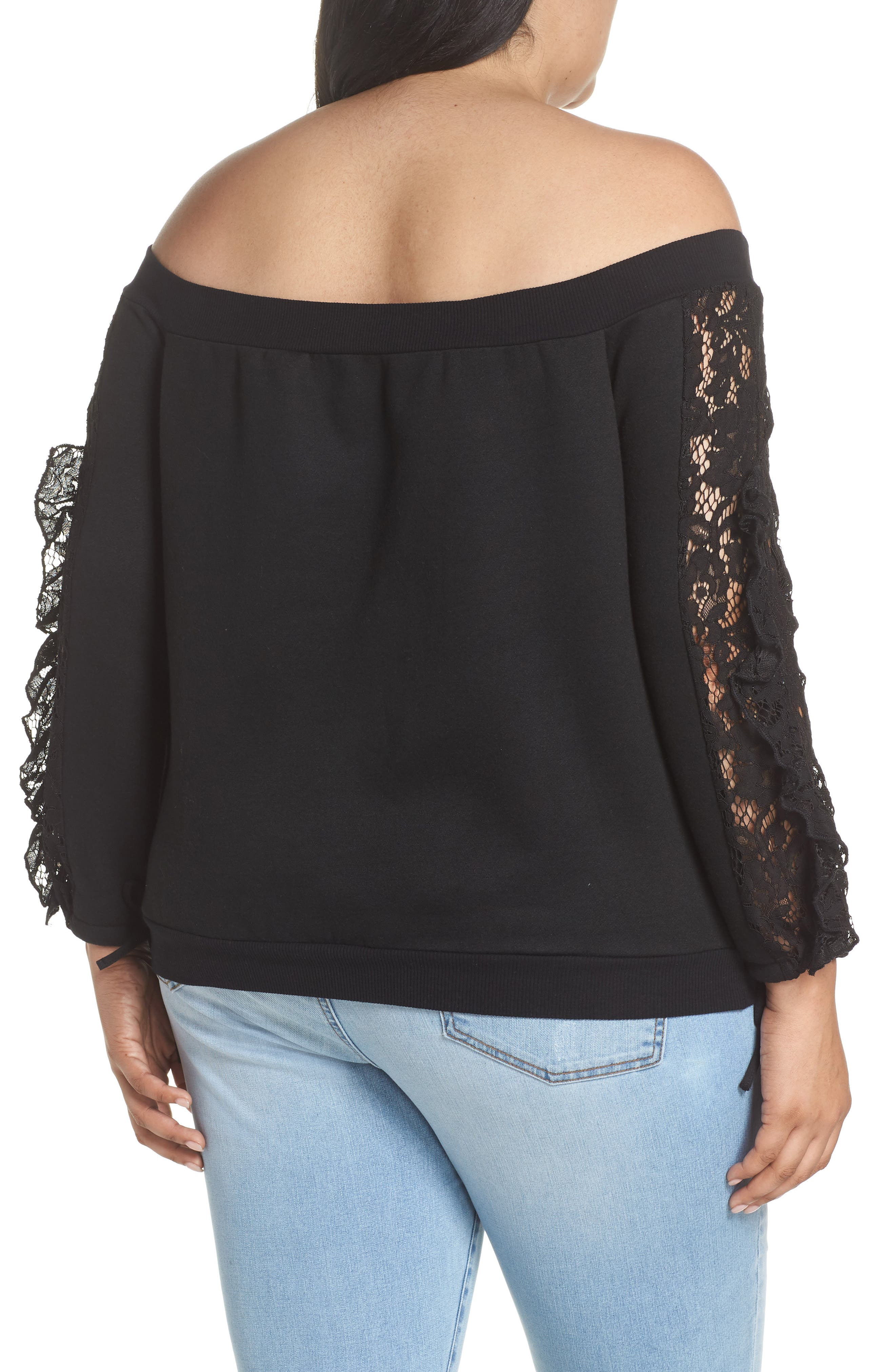 Lace Ruffle Sleeve Off the Shoulder Sweatshirt,                             Alternate thumbnail 2, color,                             Black