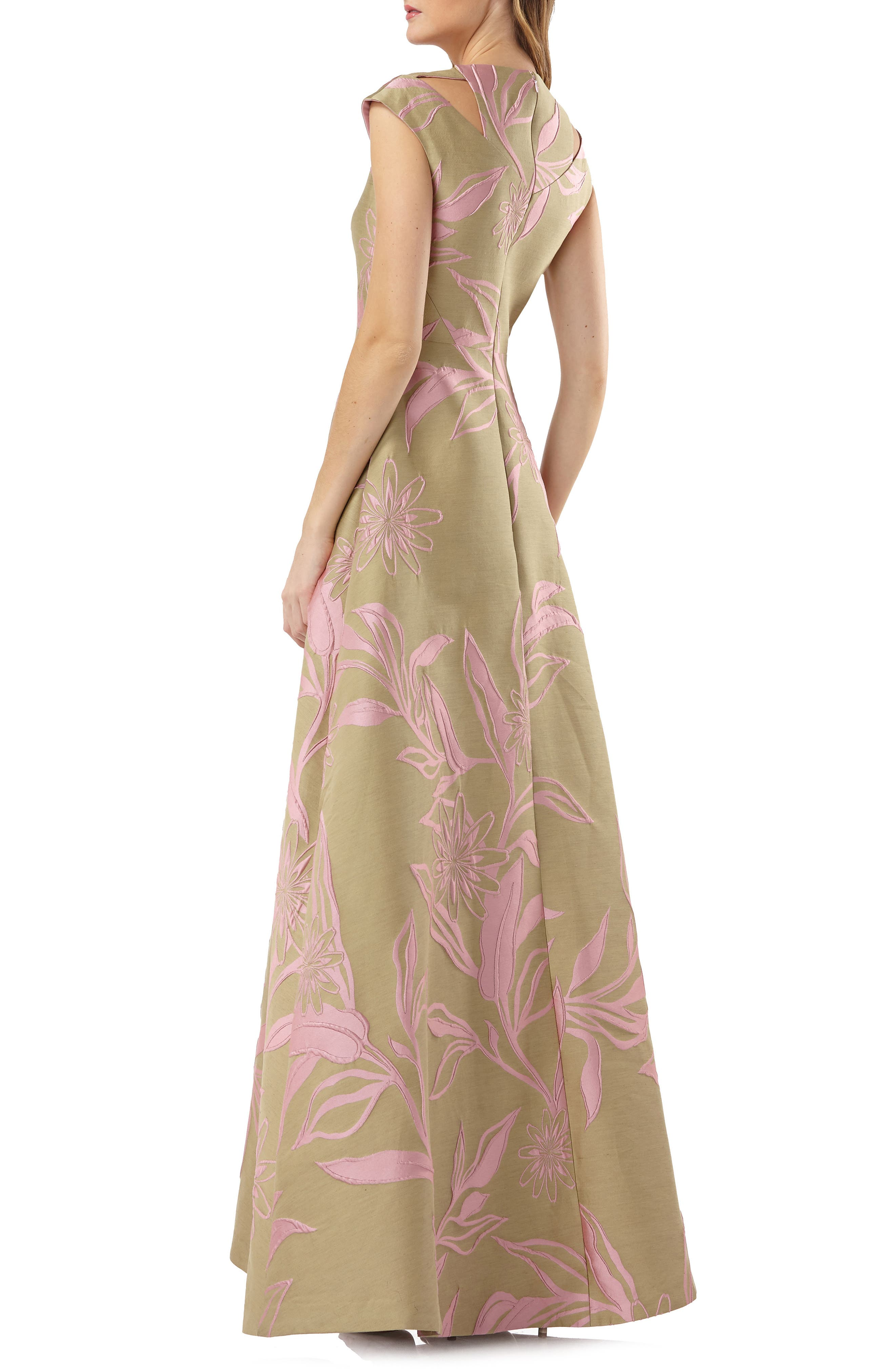 Extended Sleeve Floral Jacquard Gown,                             Alternate thumbnail 2, color,                             Rose Multi