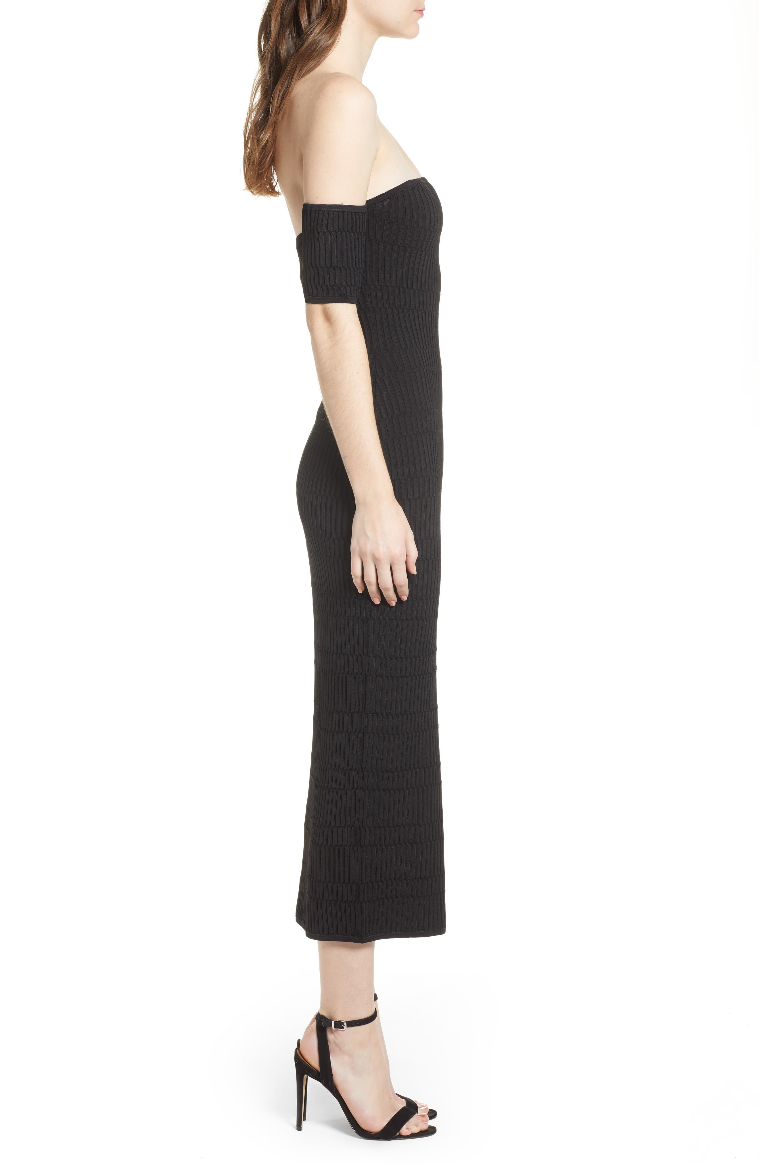 Tube Sweater Dress,                             Alternate thumbnail 3, color,                             Black
