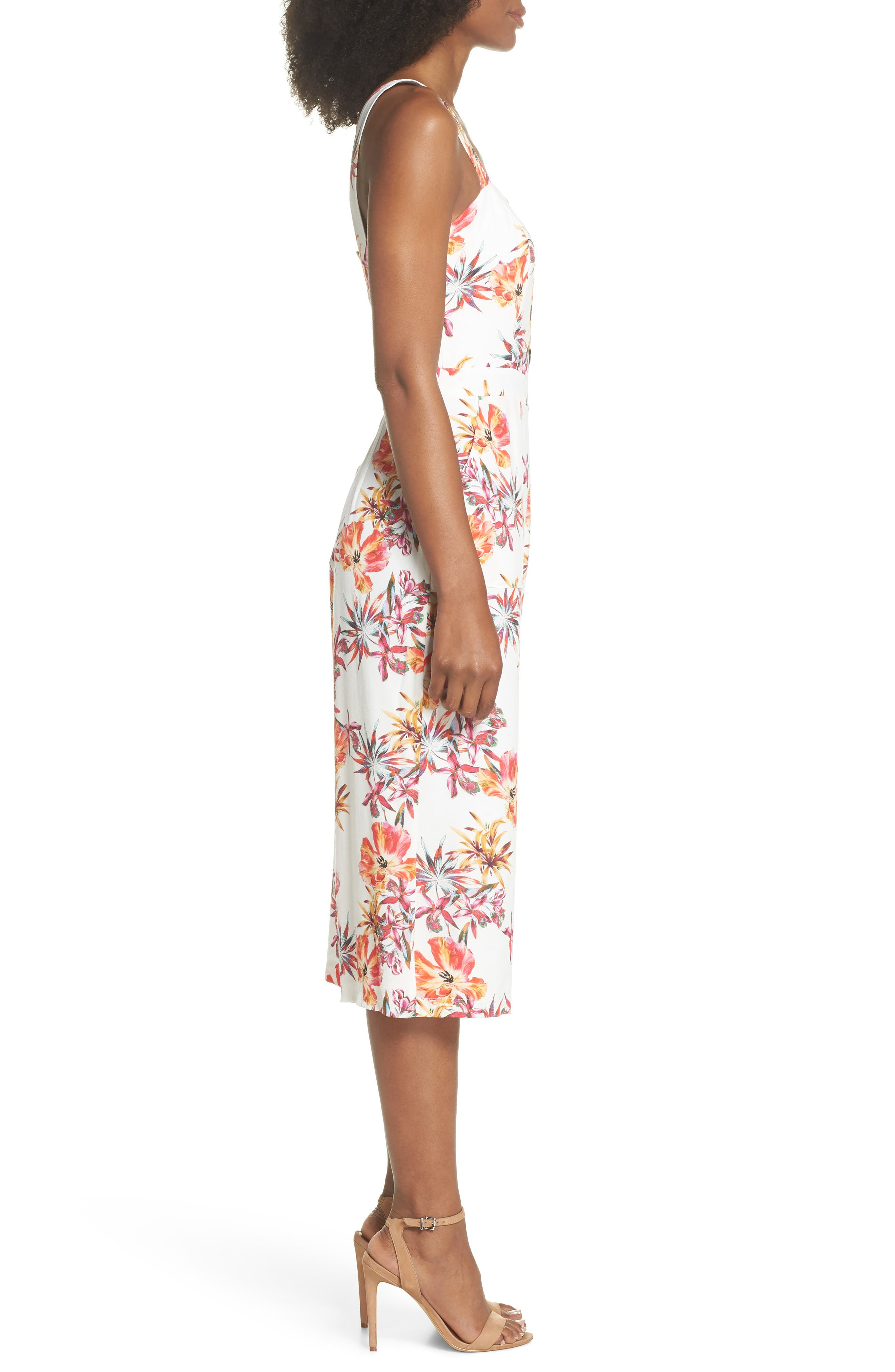 Eloise Floral Jumpsuit,                             Alternate thumbnail 3, color,                             Off White/ Red