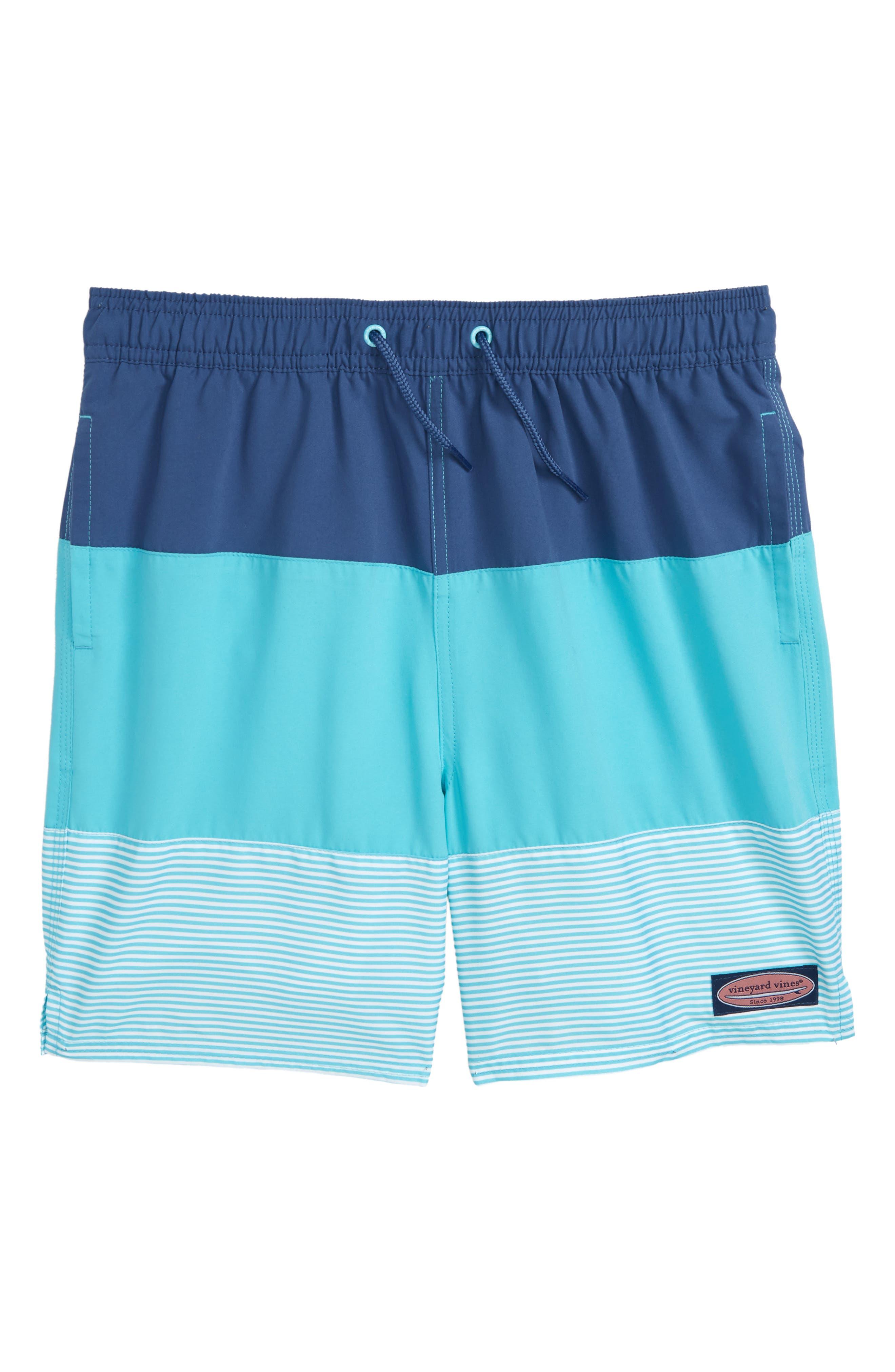 Chappy Pieced Swim Trunks,                         Main,                         color, Turqs