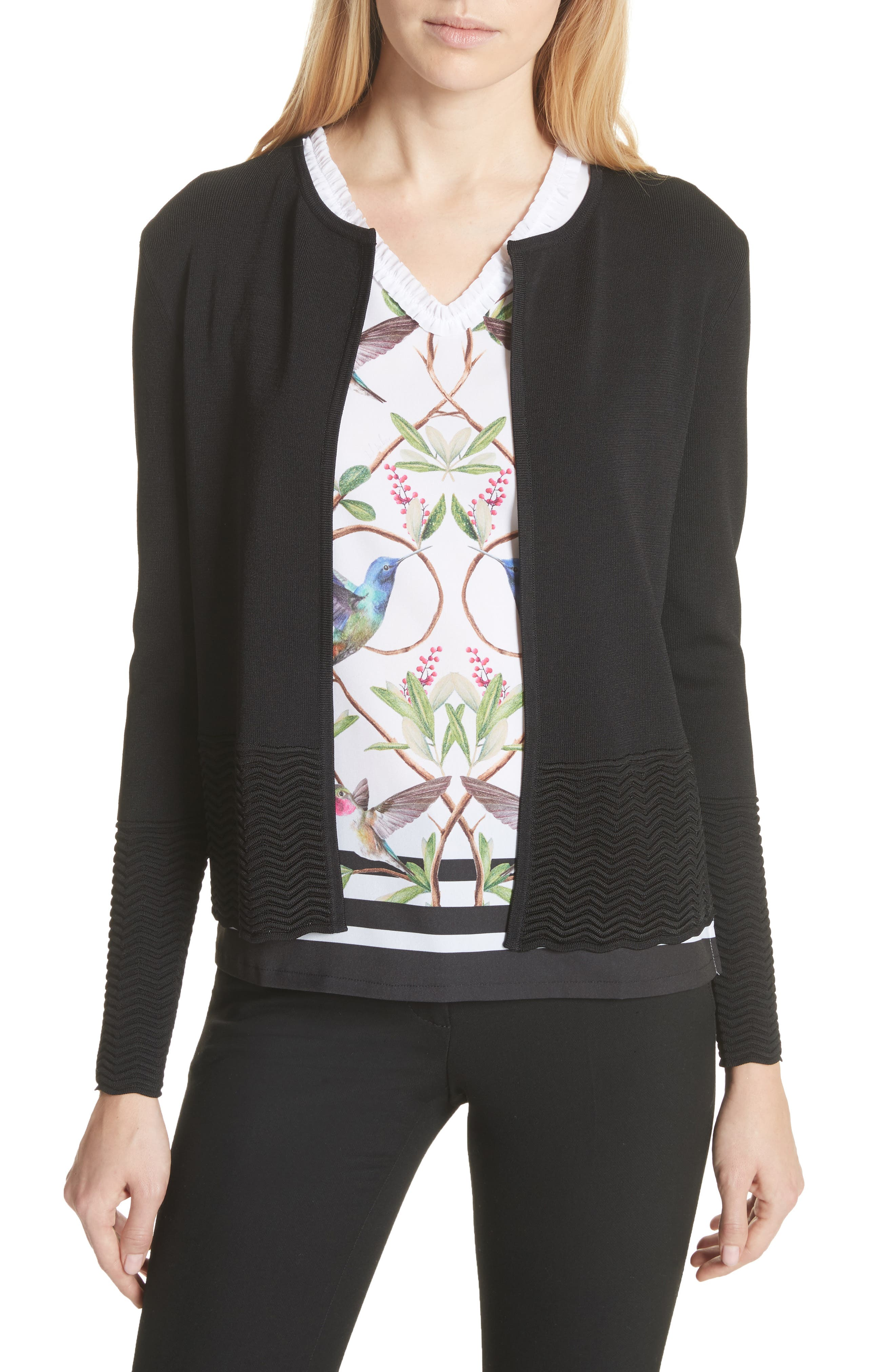 Kellie Zigzag Cardigan,                         Main,                         color, Black