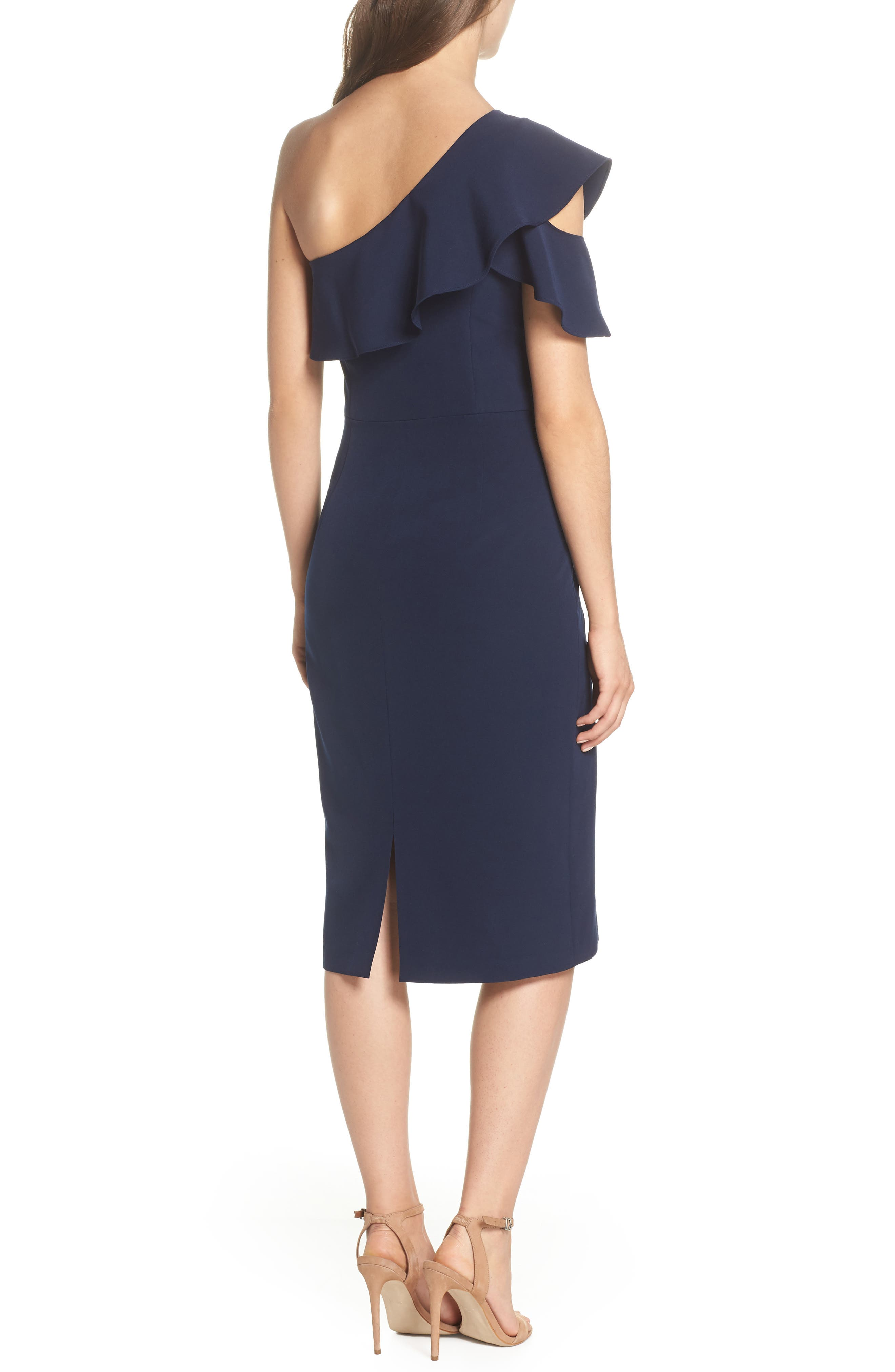 Dream One-Shoulder Crepe Ruffle Dress,                             Alternate thumbnail 2, color,                             Navy