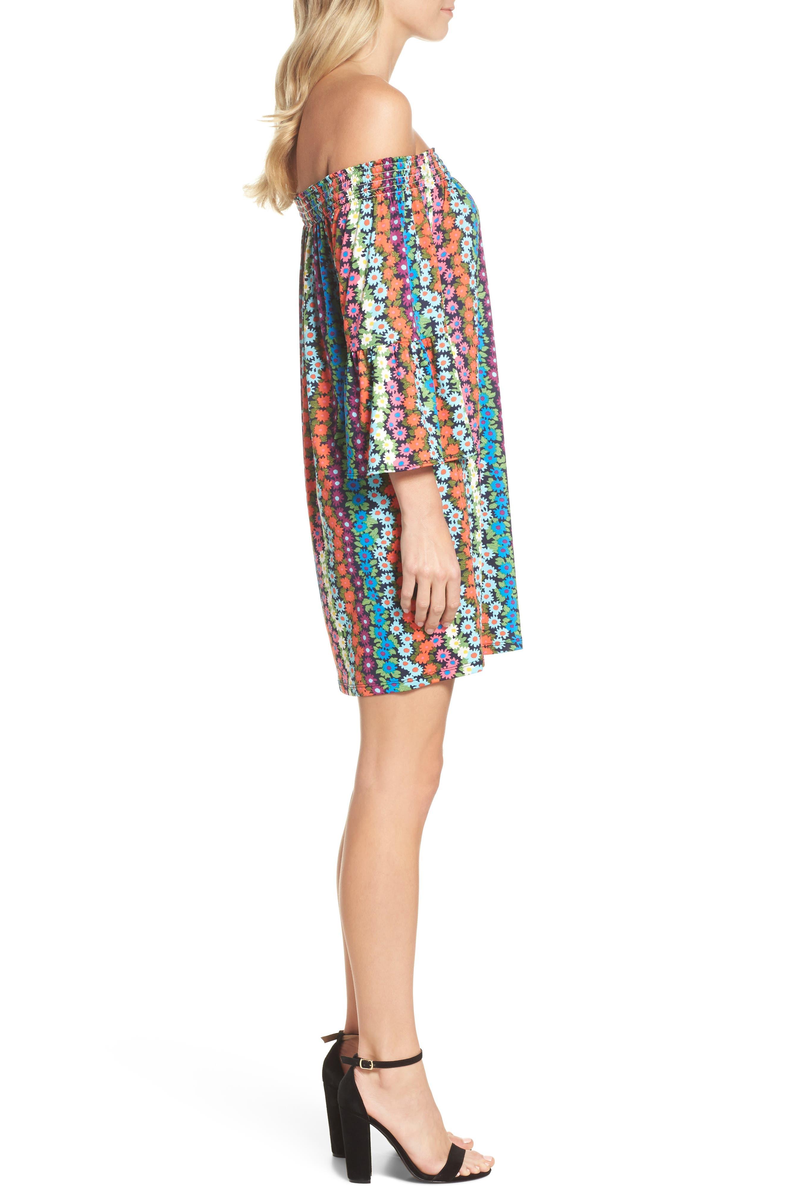 Trina Turk Off the Shoulder Bell Sleeve Dress,                             Alternate thumbnail 3, color,                             Multi