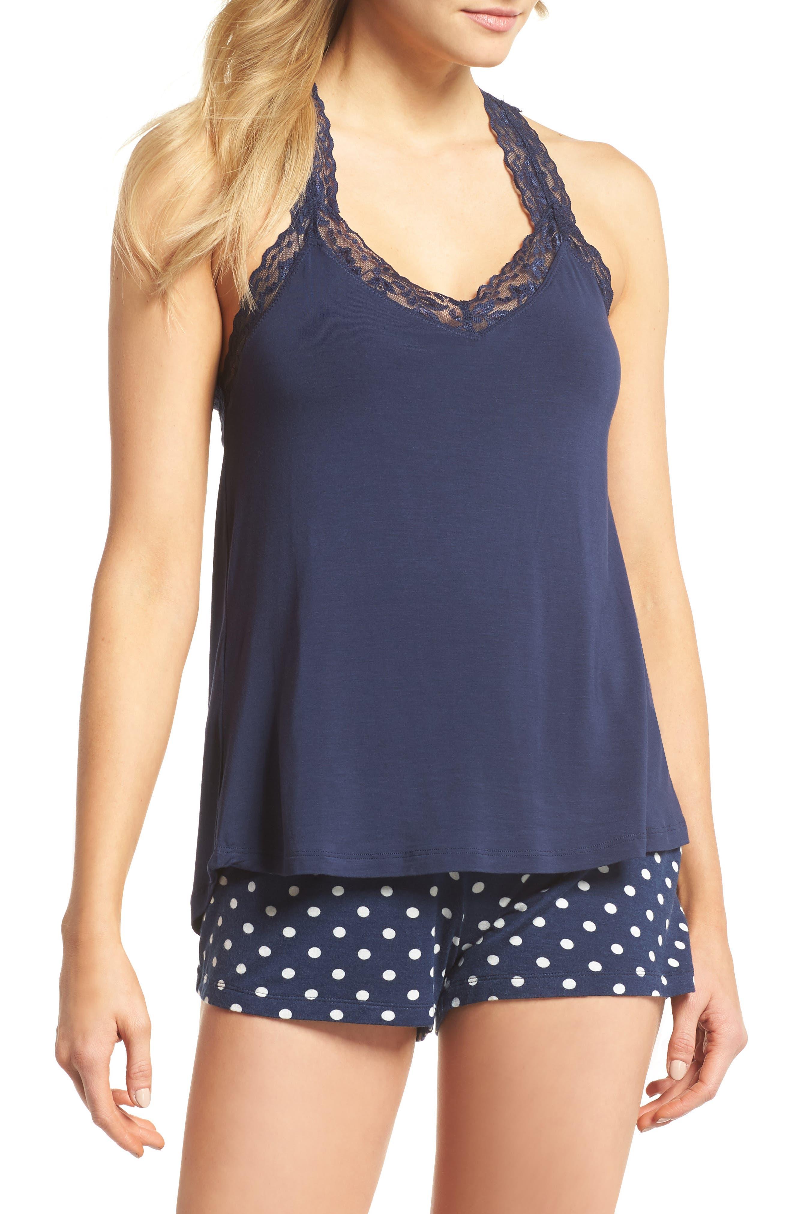 Pajama Shorts,                         Main,                         color, Navy