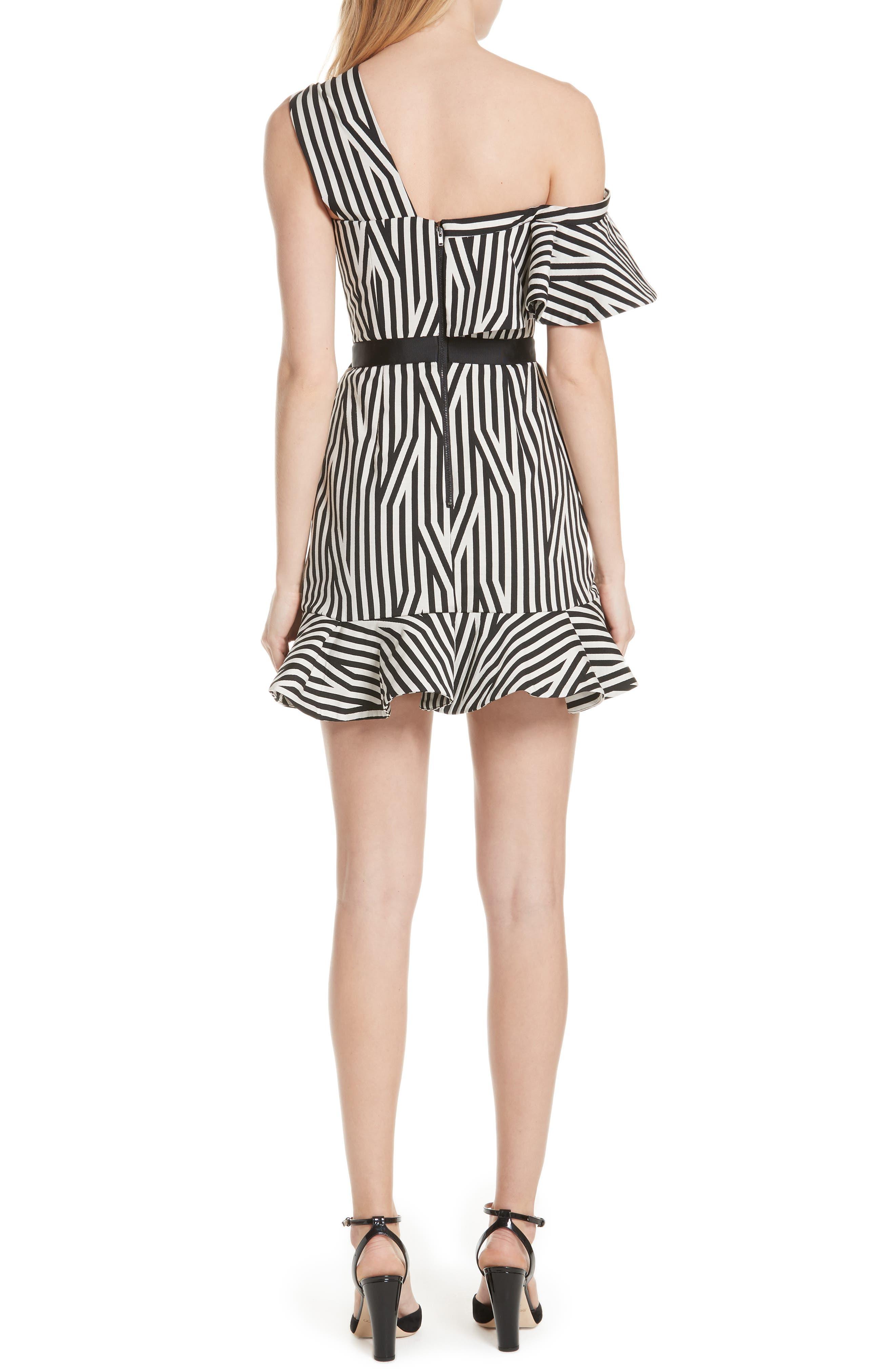 Abstract Stripe Asymmetrical Dress,                             Alternate thumbnail 2, color,                             Black/ White