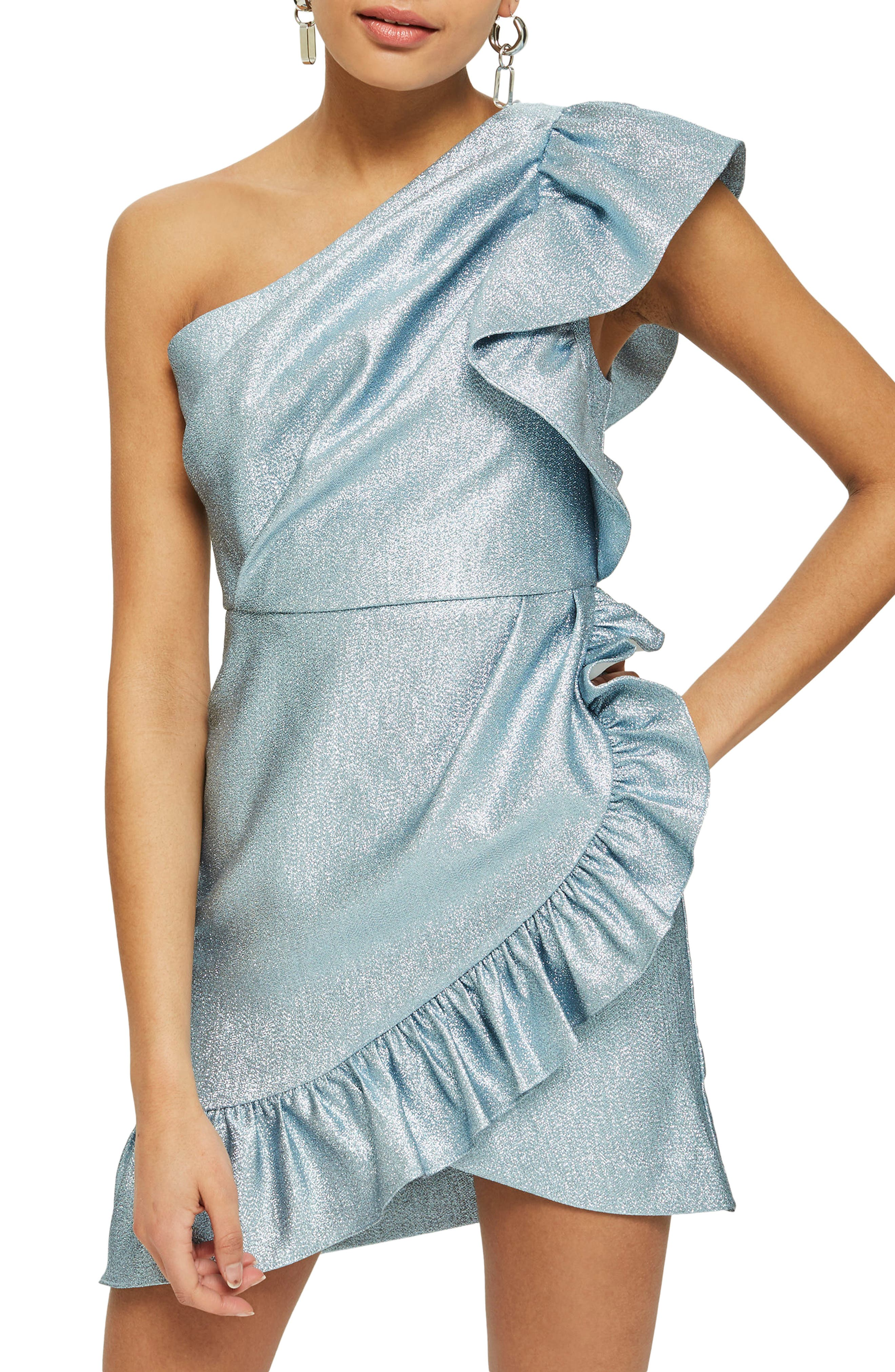One-Shoulder Ruffle Minidress,                         Main,                         color, Blue