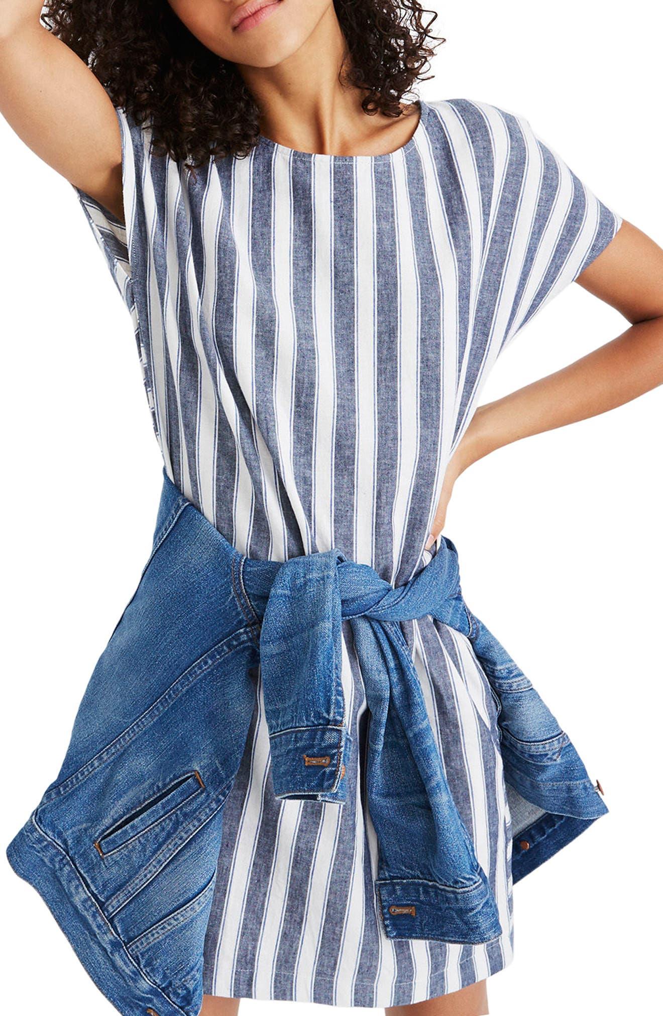 Stripe Play Button Back Dress,                         Main,                         color, Transatlantic Blue