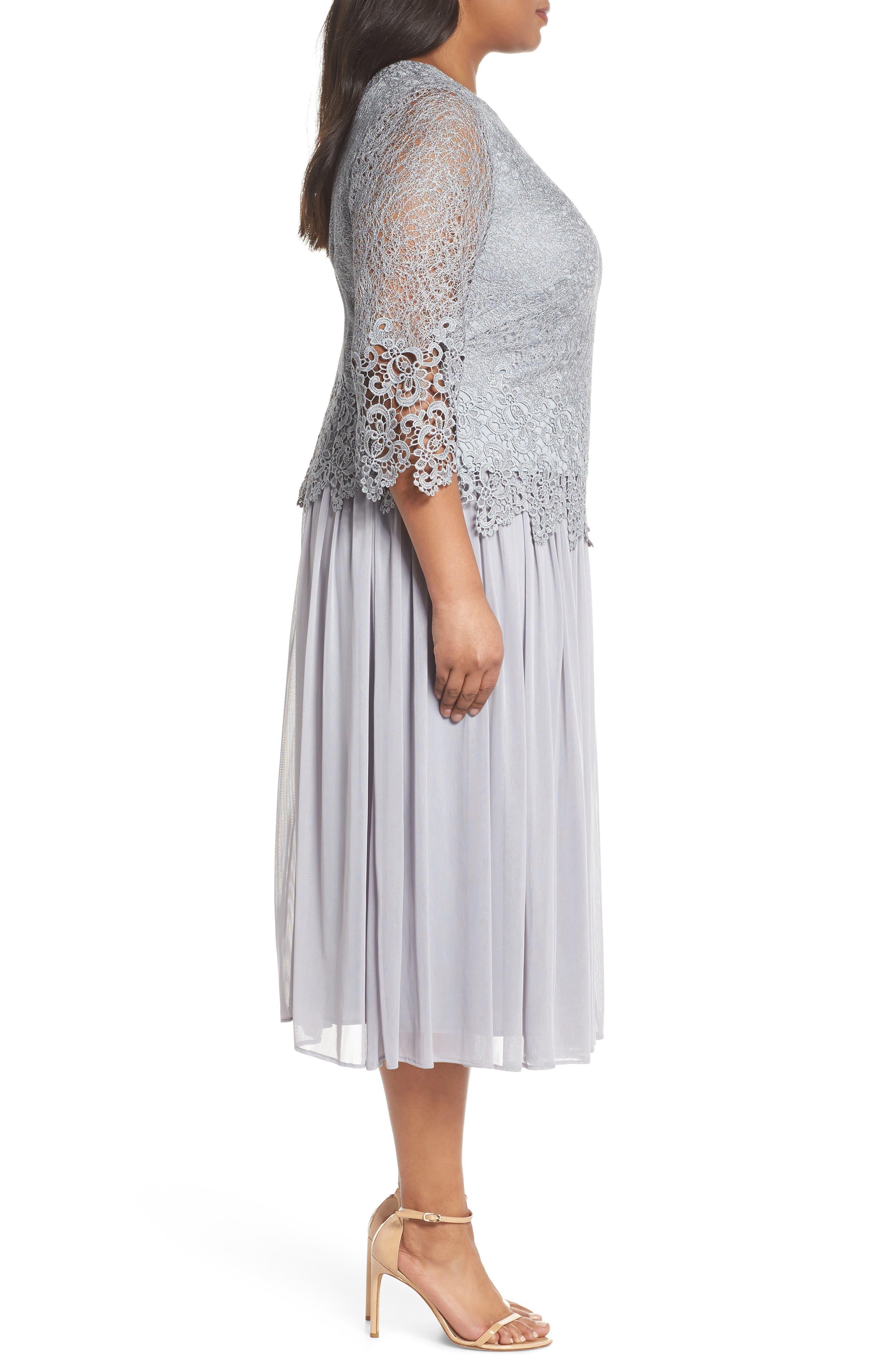 Lace & Chiffon Tea Length Dress,                             Alternate thumbnail 3, color,                             Silver