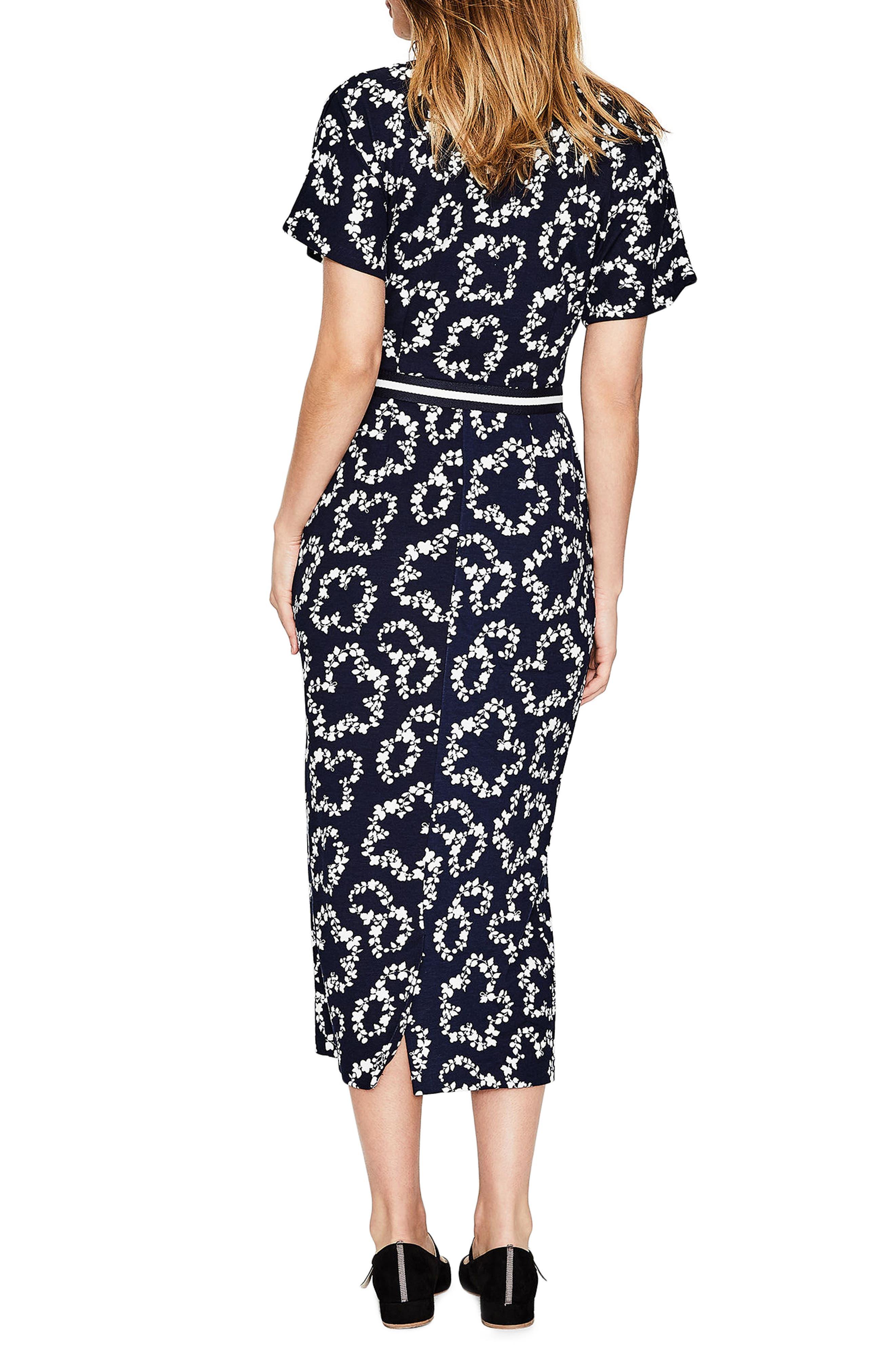 Fluted Sleeve Midi Dress,                             Alternate thumbnail 3, color,                             Navy Garland