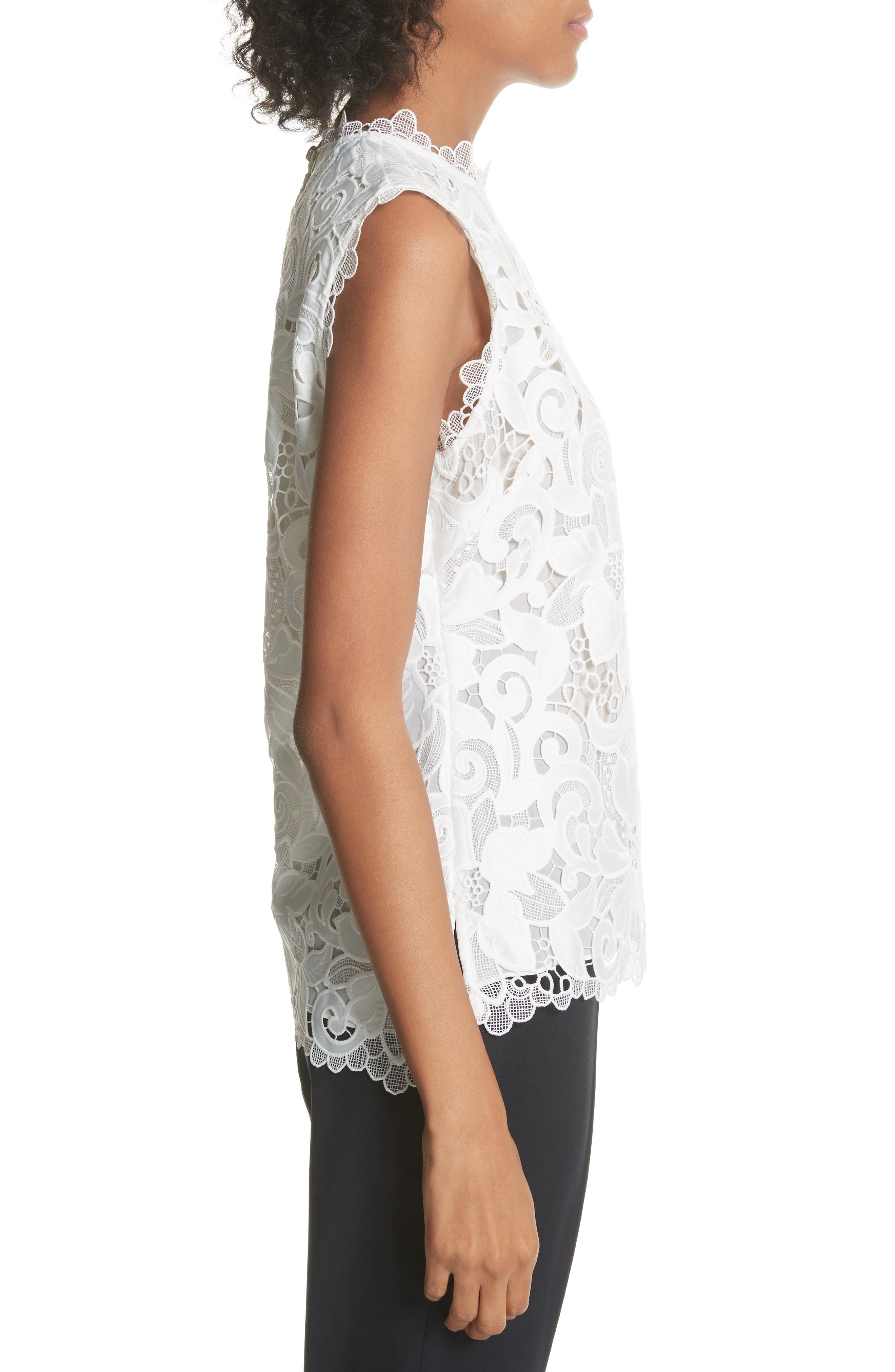 Scalloped Lace Top,                             Alternate thumbnail 3, color,                             Natural
