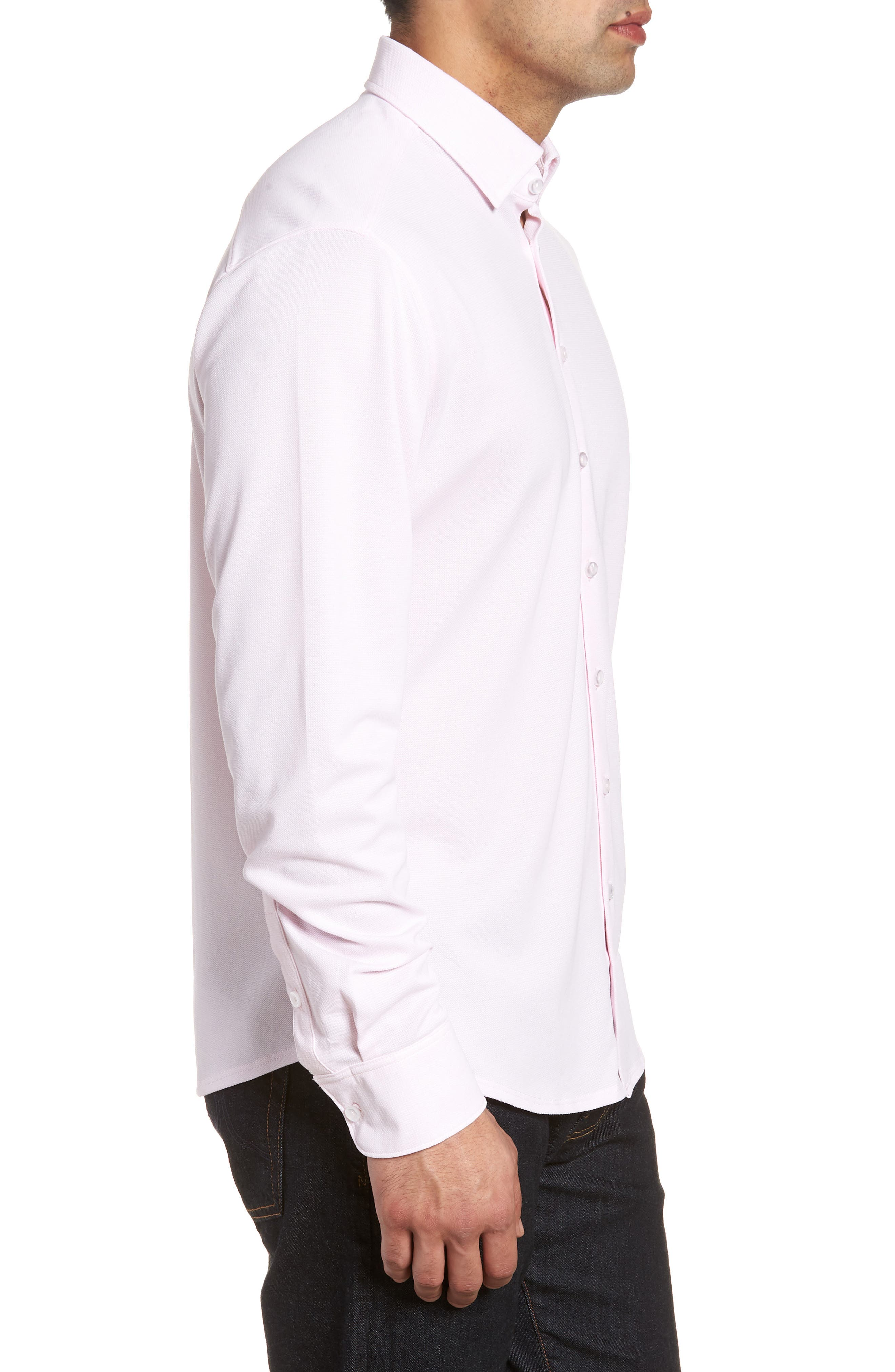 Knit Sport Shirt,                             Alternate thumbnail 3, color,                             Pink