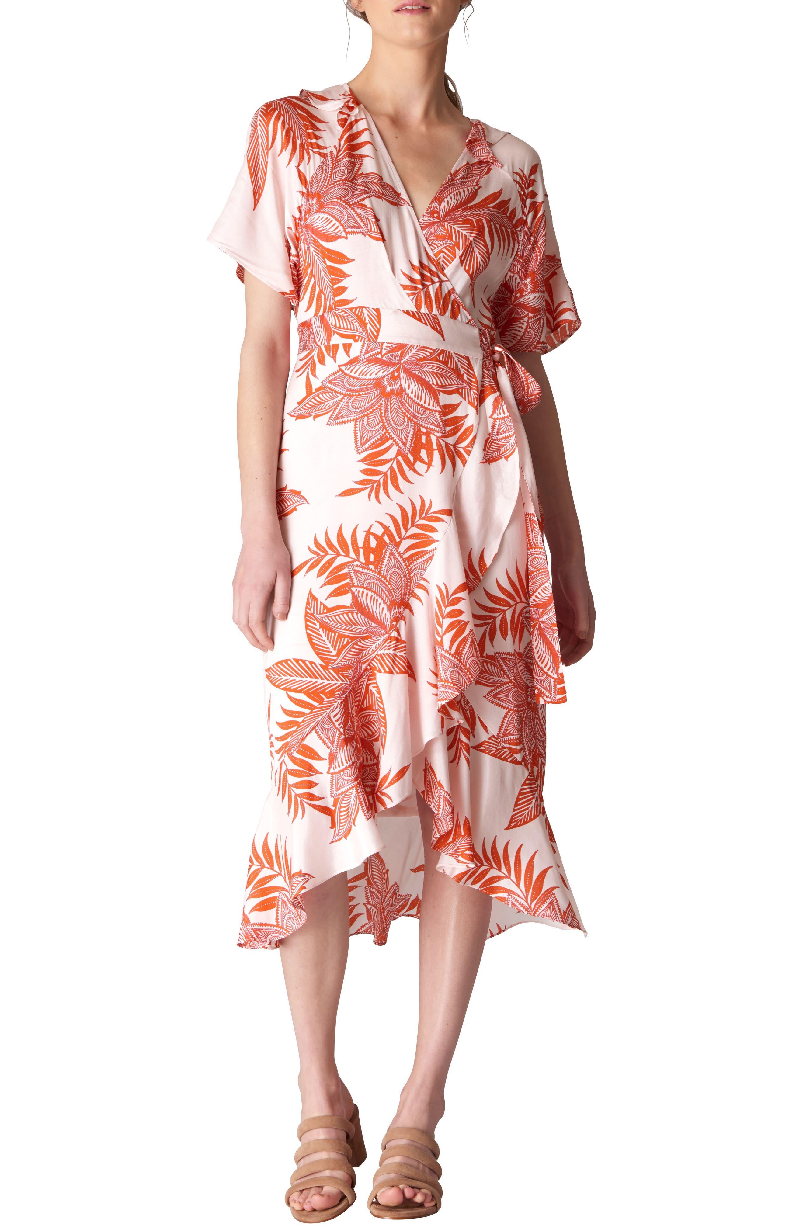 Palmyra Print Wrap Dress,                         Main,                         color, White/ Multi