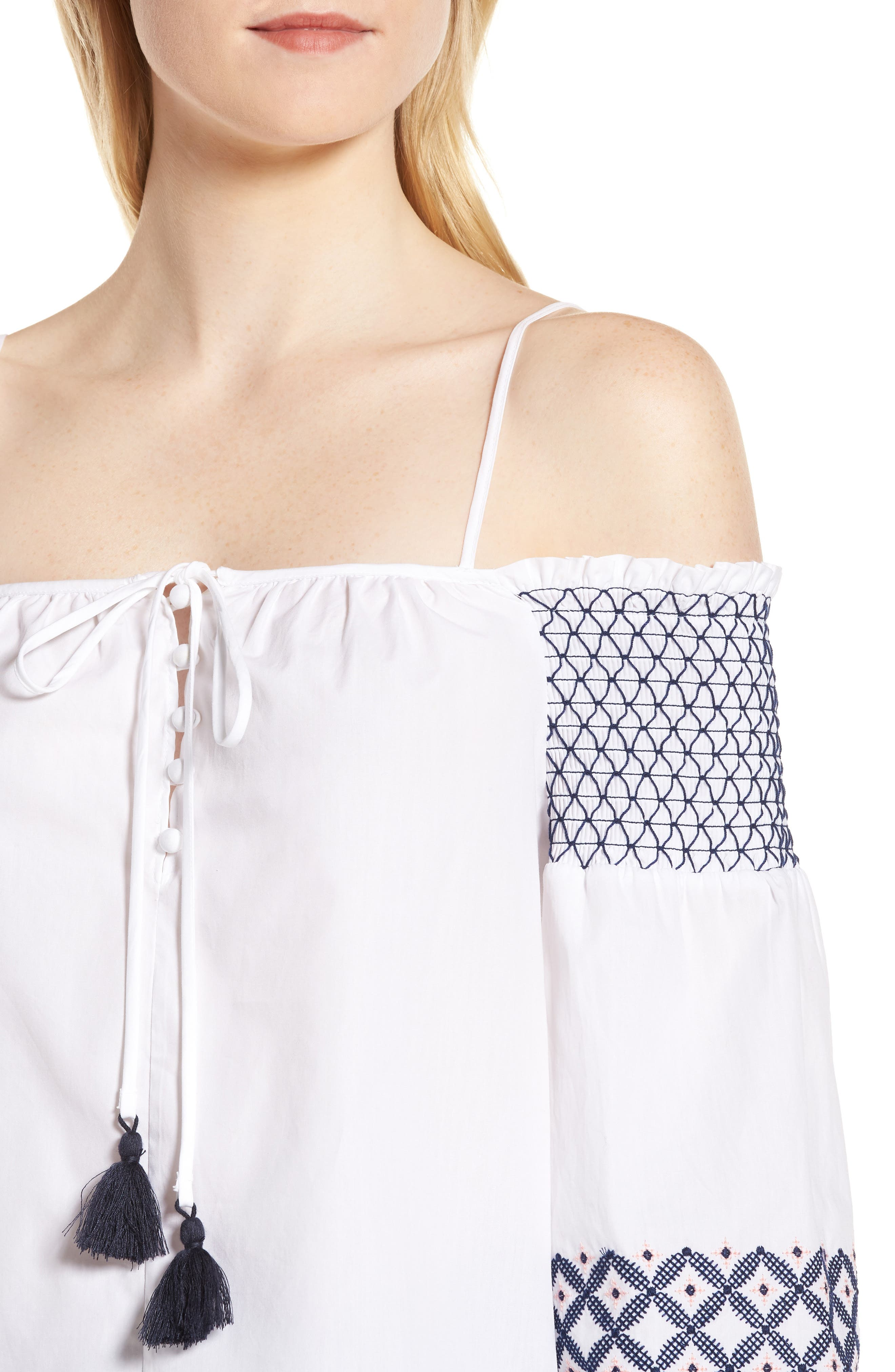 Tiffany Embroidered Cold Shoulder Top,                             Alternate thumbnail 4, color,                             White