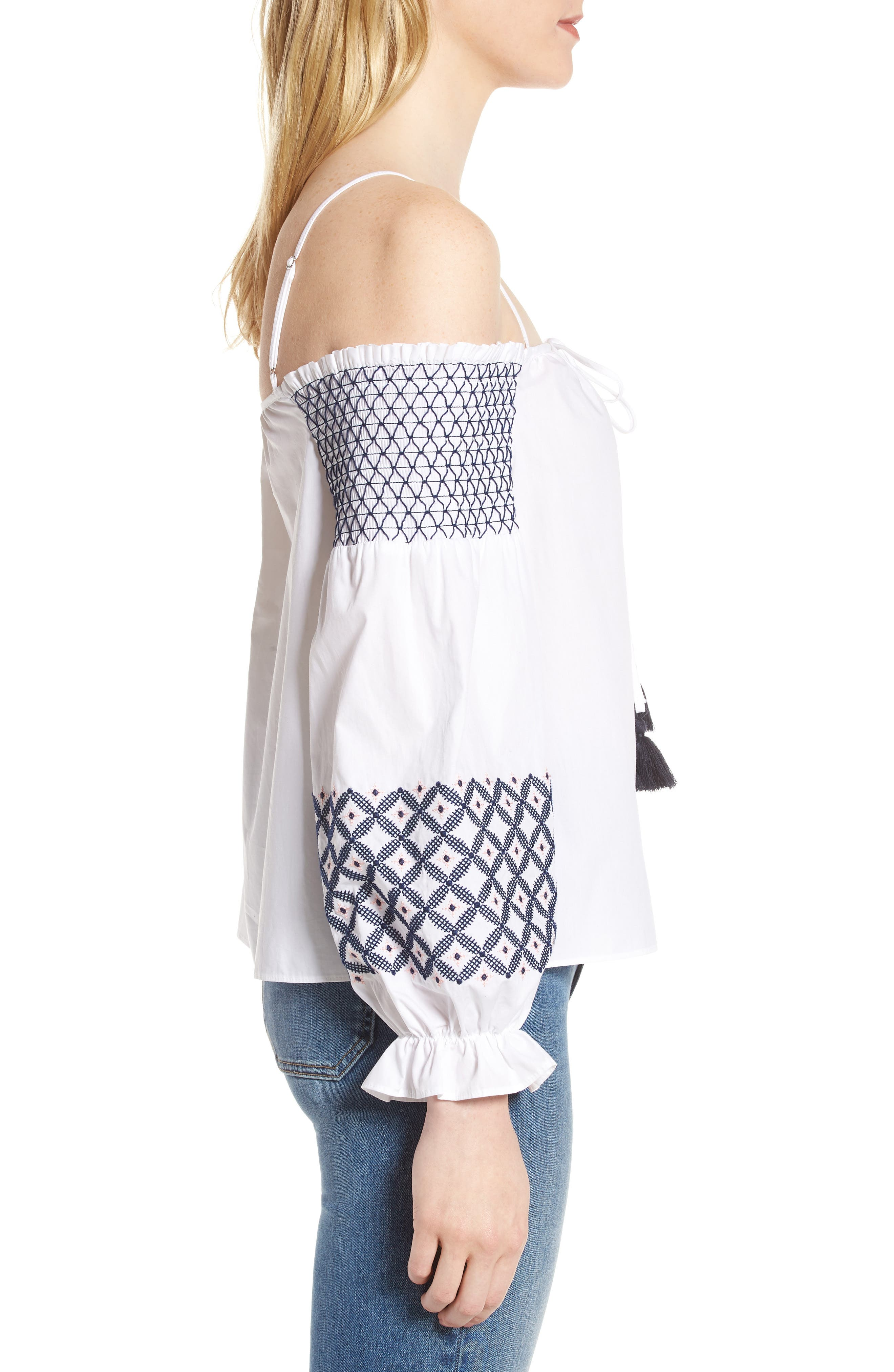 Tiffany Embroidered Cold Shoulder Top,                             Alternate thumbnail 3, color,                             White