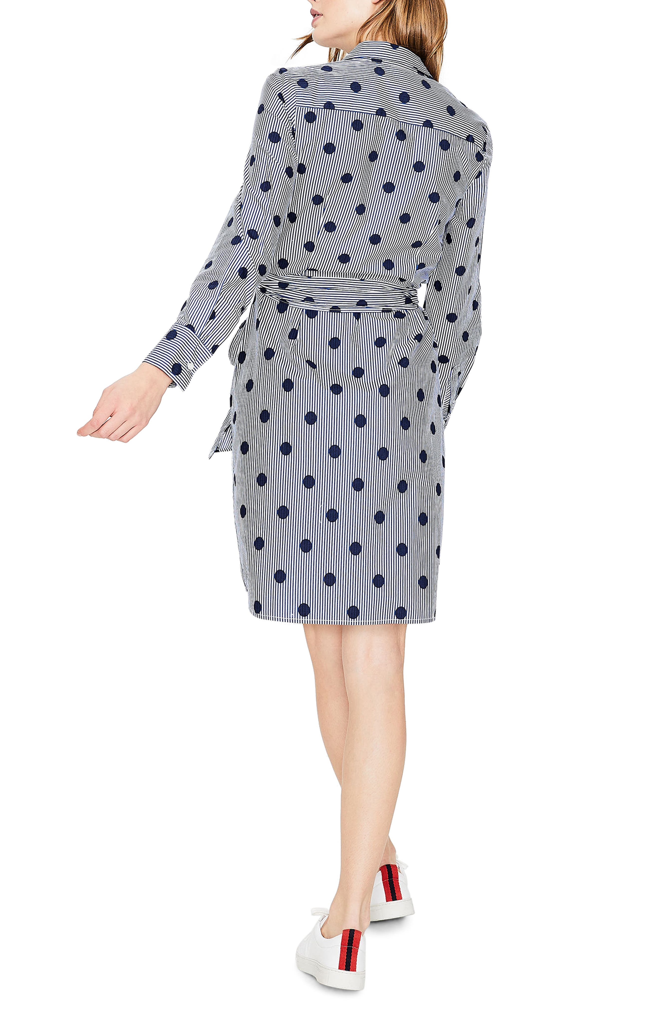 Trend Stripe Dot Cotton Shirtdress,                             Alternate thumbnail 3, color,                             Navy Spot On Stripe