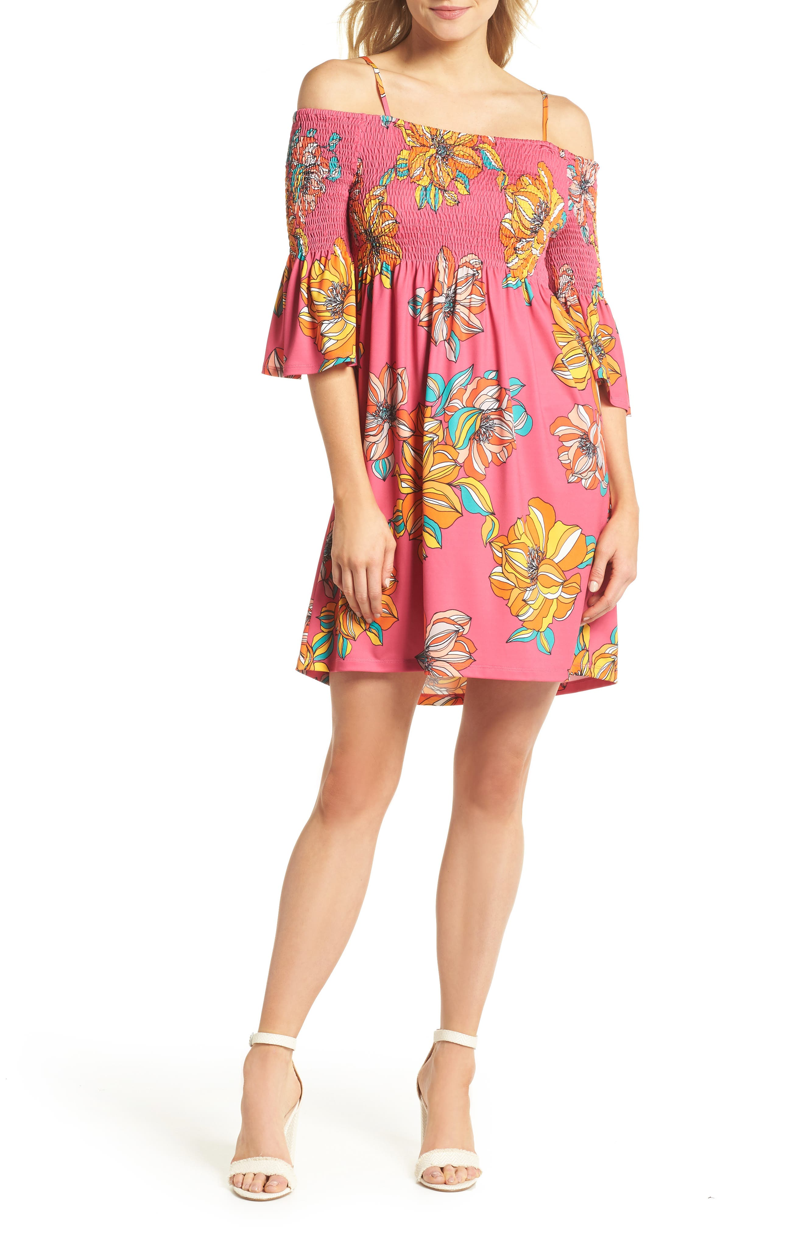 Ventana Cold Shoulder Babydoll Dress,                         Main,                         color, Peony