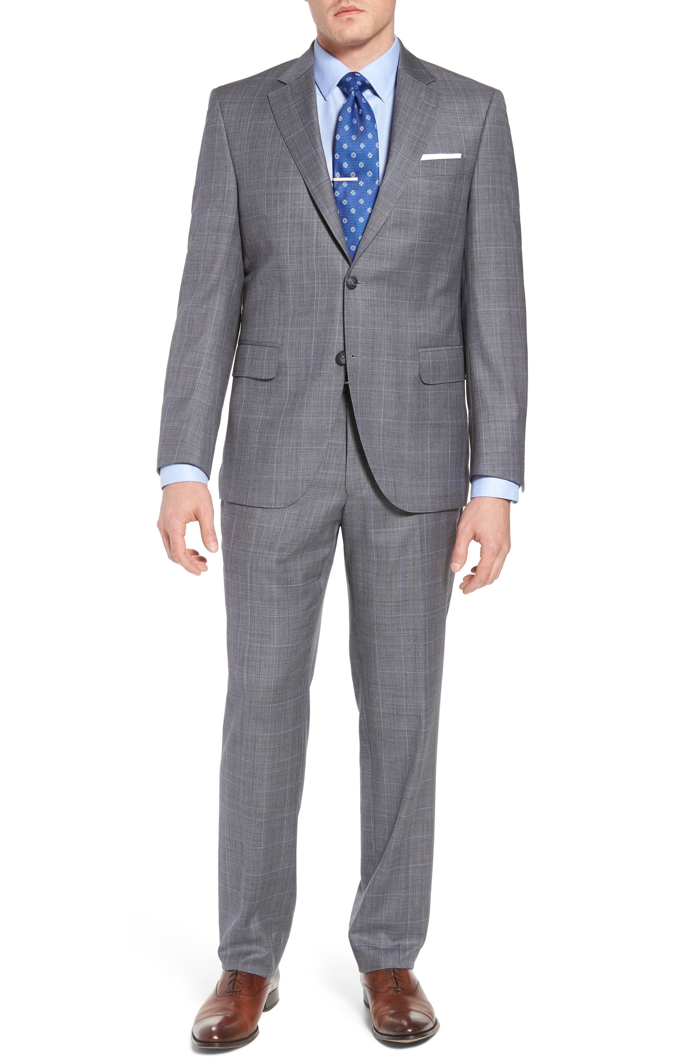 Classic Fit Windowpane Wool Suit,                         Main,                         color, Grey