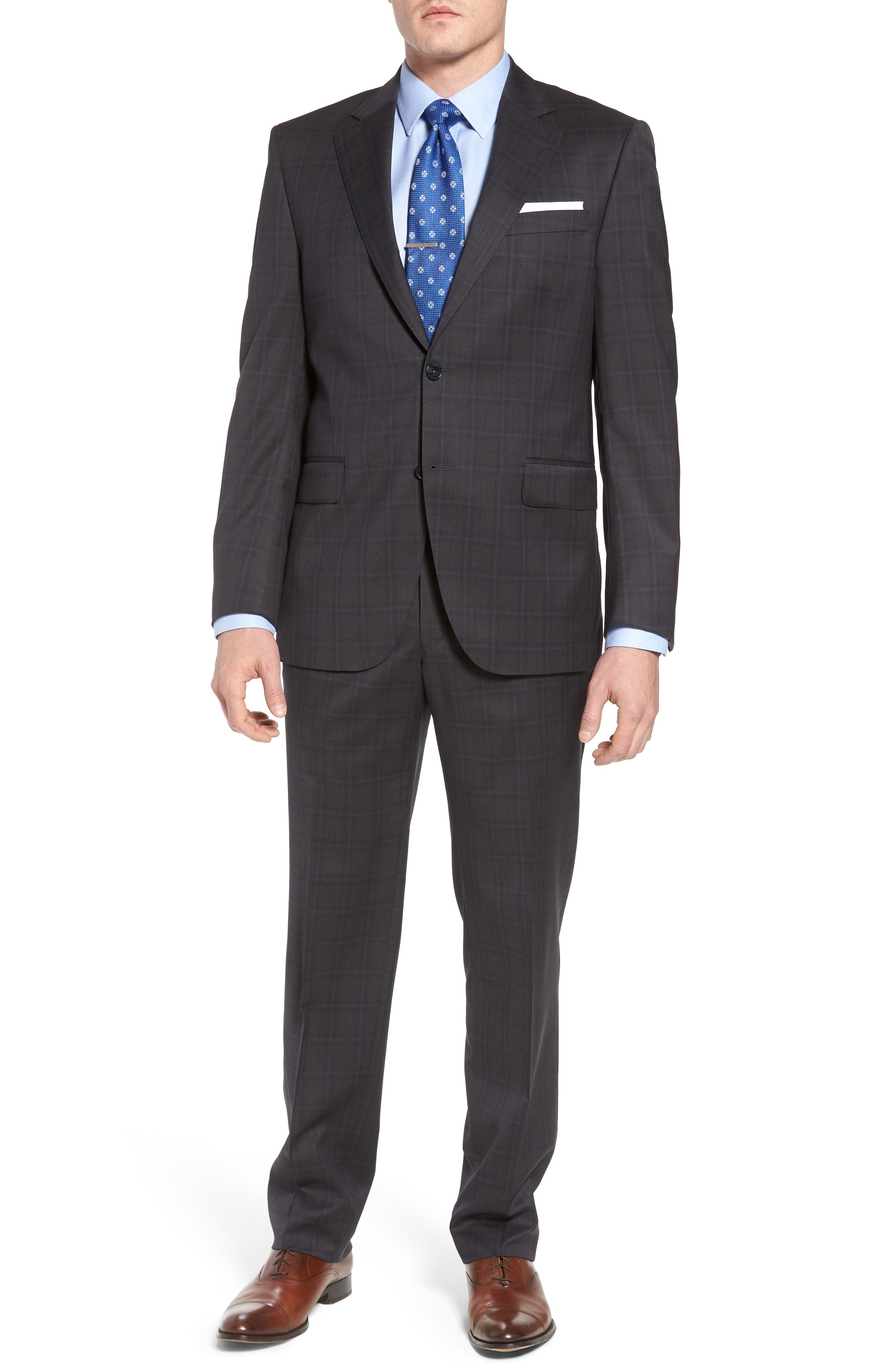 Classic Fit Plaid Wool Suit,                             Main thumbnail 1, color,                             Charcoal