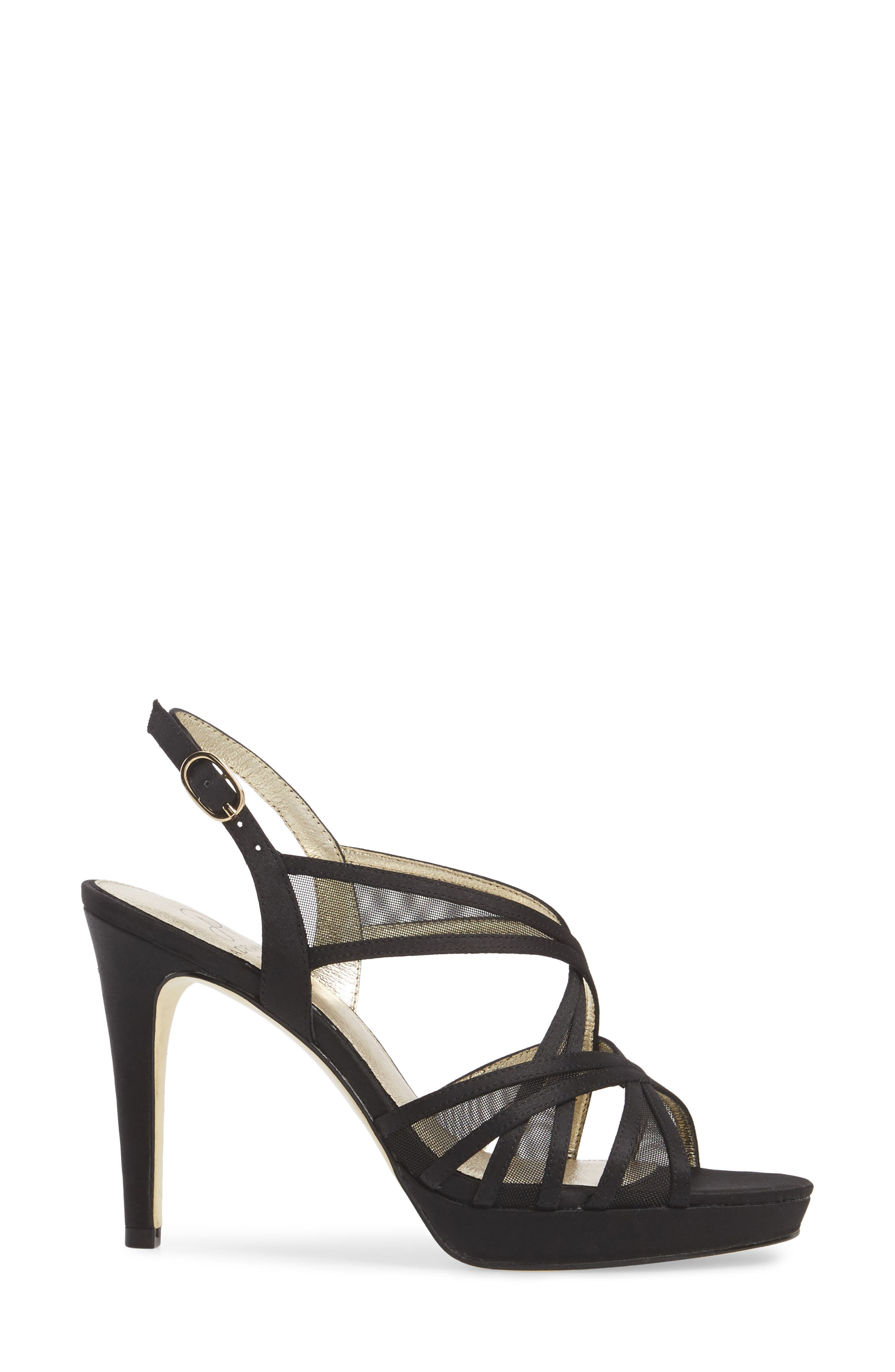 Adri Platform Sandal,                             Alternate thumbnail 3, color,                             Black Satin