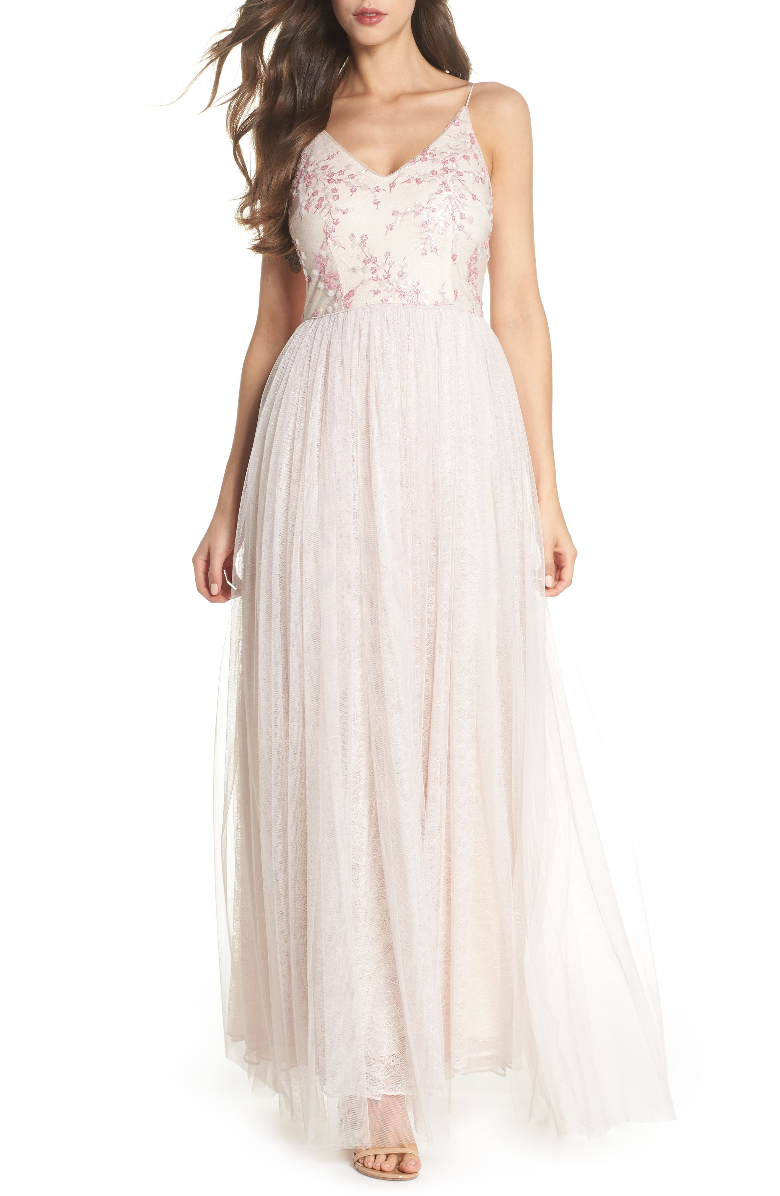 Embellished Bodice Tulle Gown,                         Main,                         color, Pink