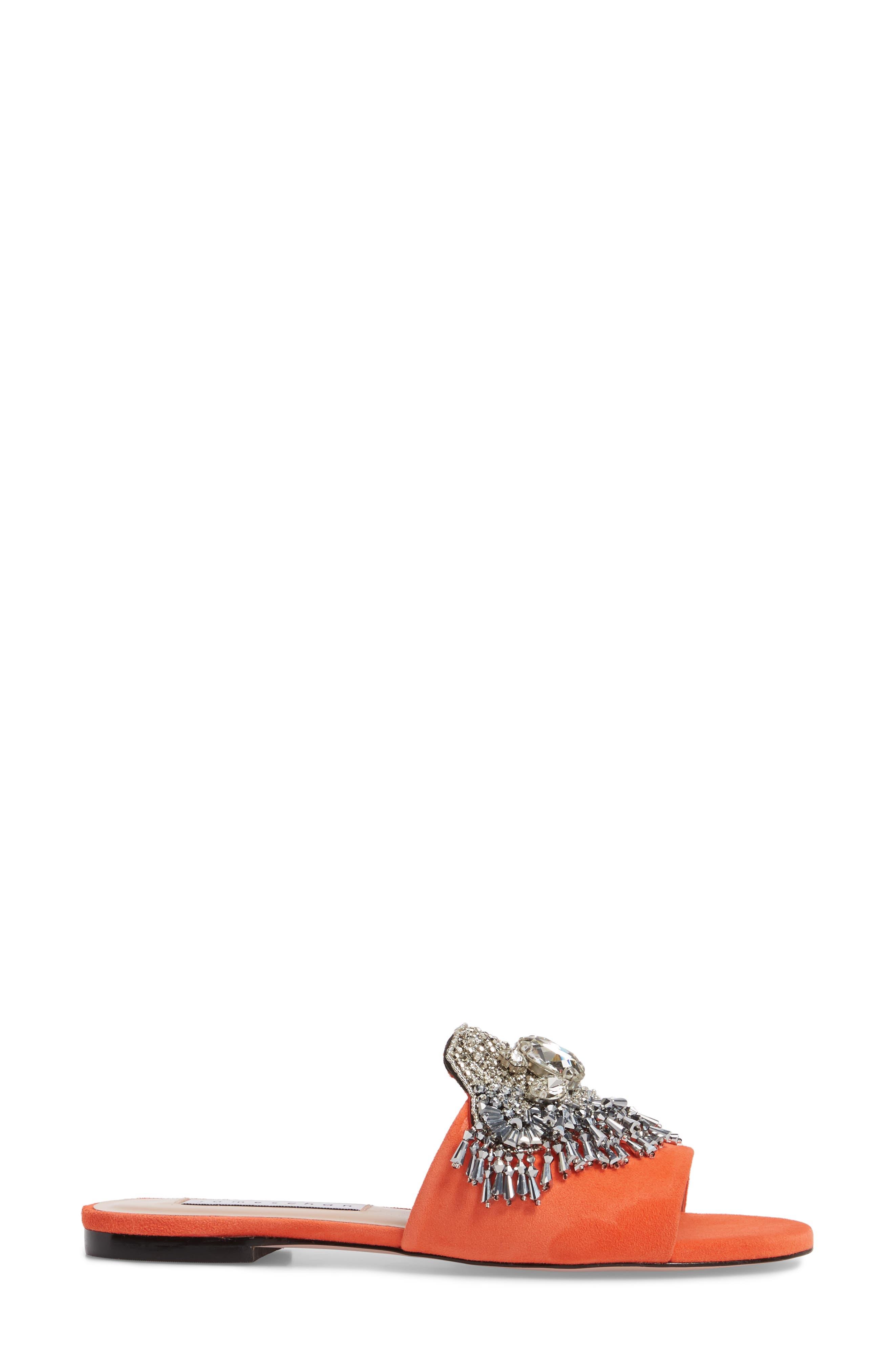 Jallie Crystal Embellished Slide,                             Alternate thumbnail 3, color,                             Sun Kiss Suede