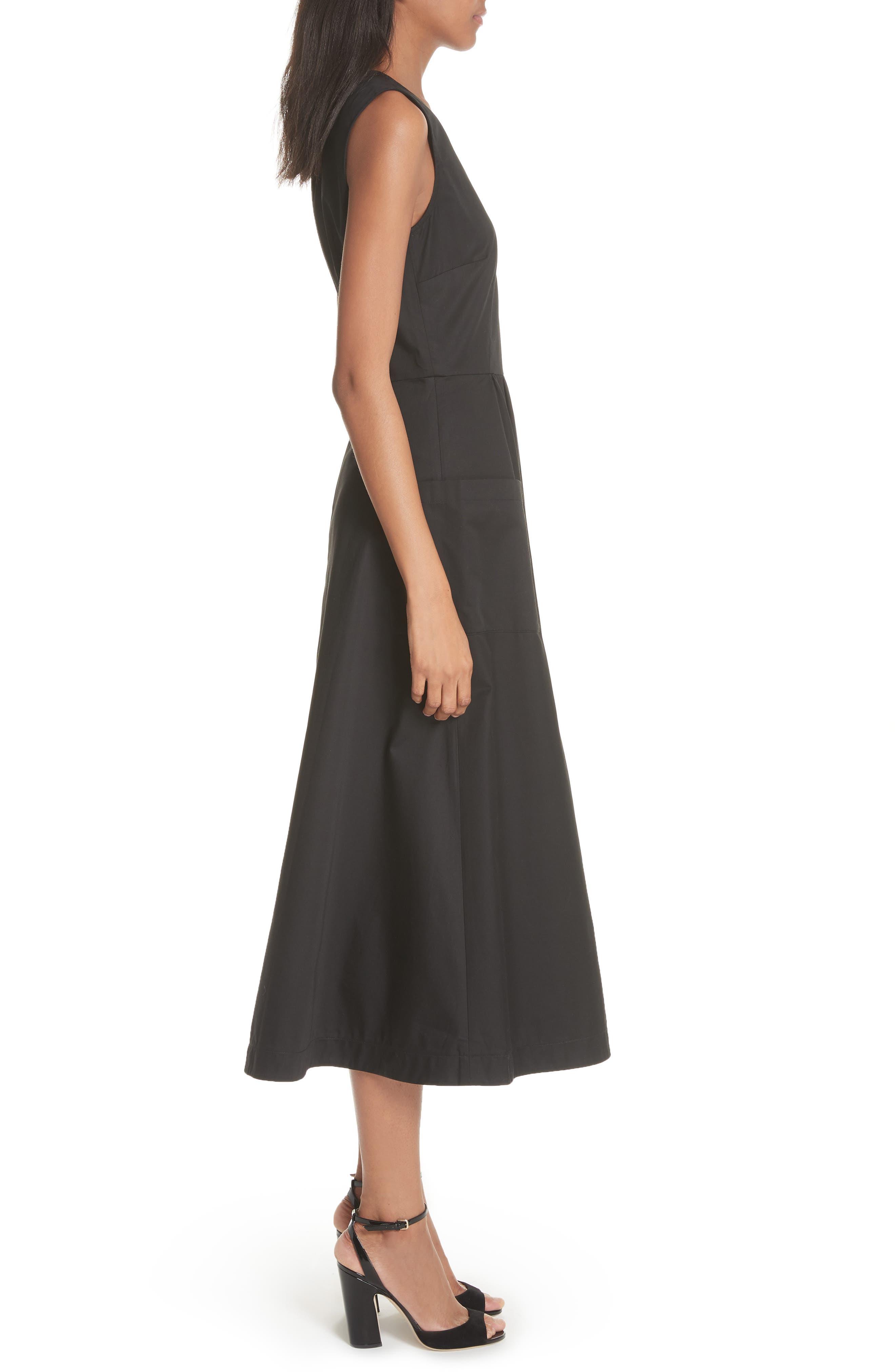 Patch Pocket Sateen Midi Dress,                             Alternate thumbnail 3, color,                             Black