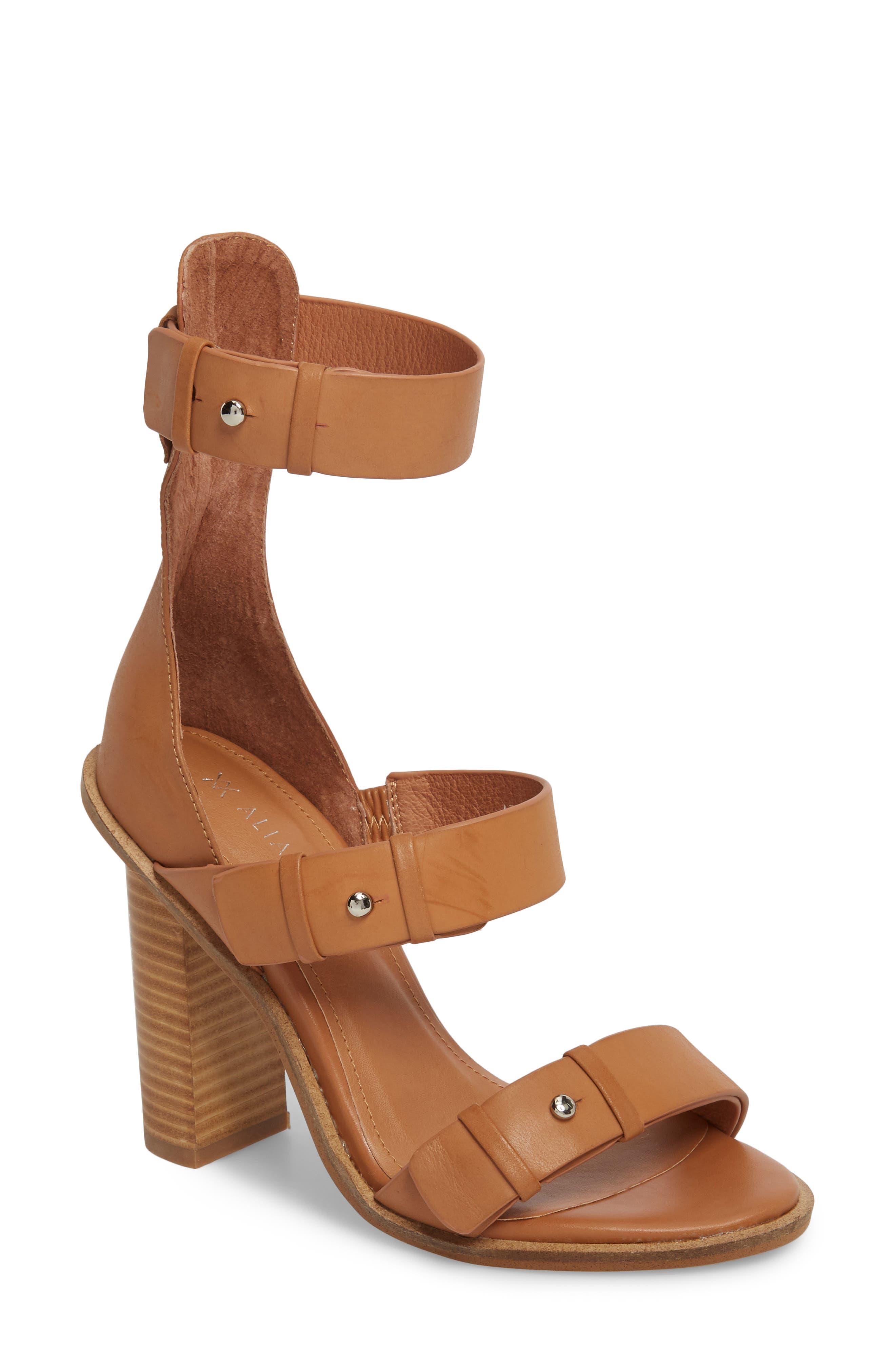 Adore Tall Cuffed Sandal,                             Main thumbnail 1, color,                             Light Tan Leather