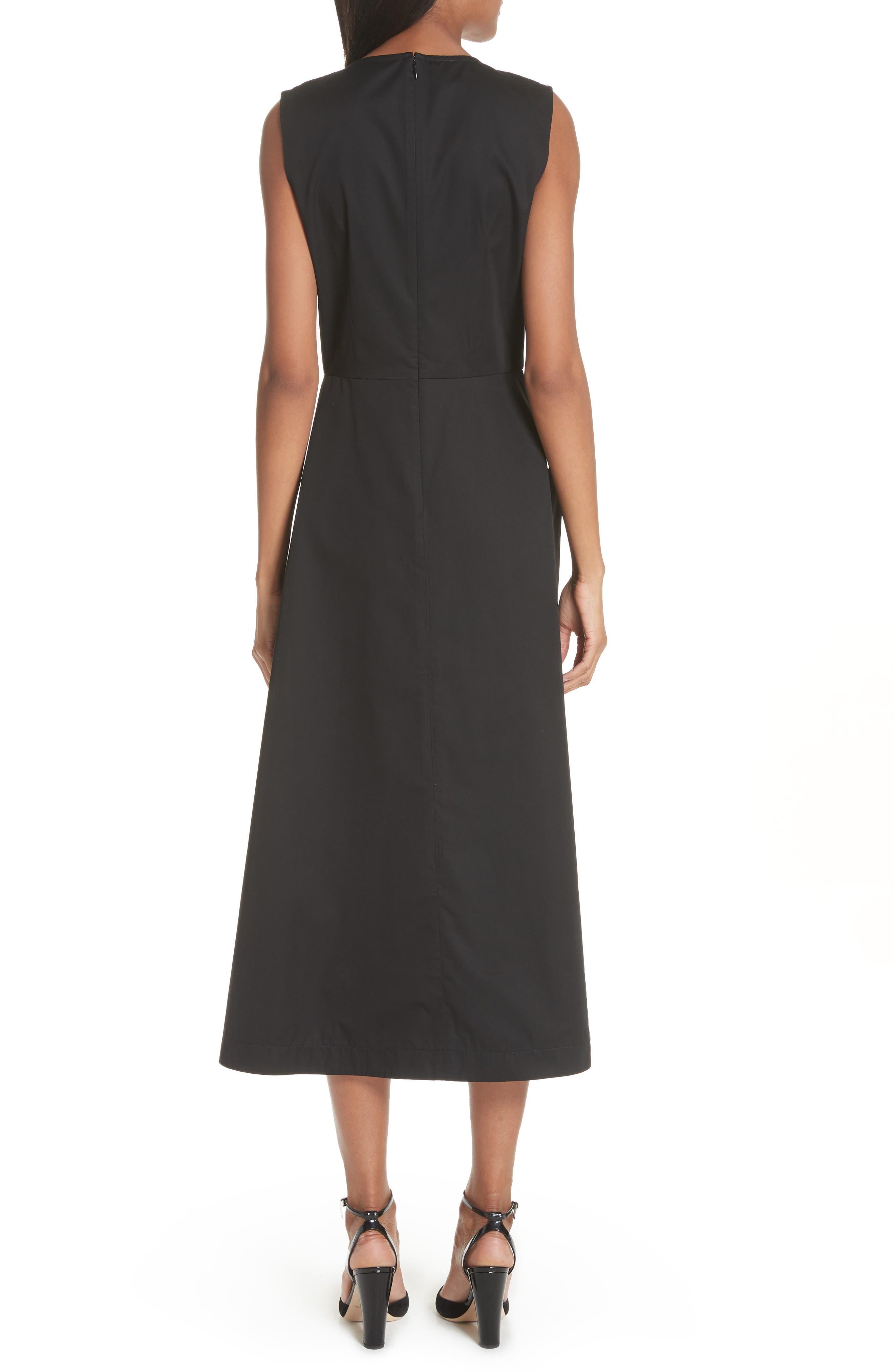 Patch Pocket Sateen Midi Dress,                             Alternate thumbnail 2, color,                             Black