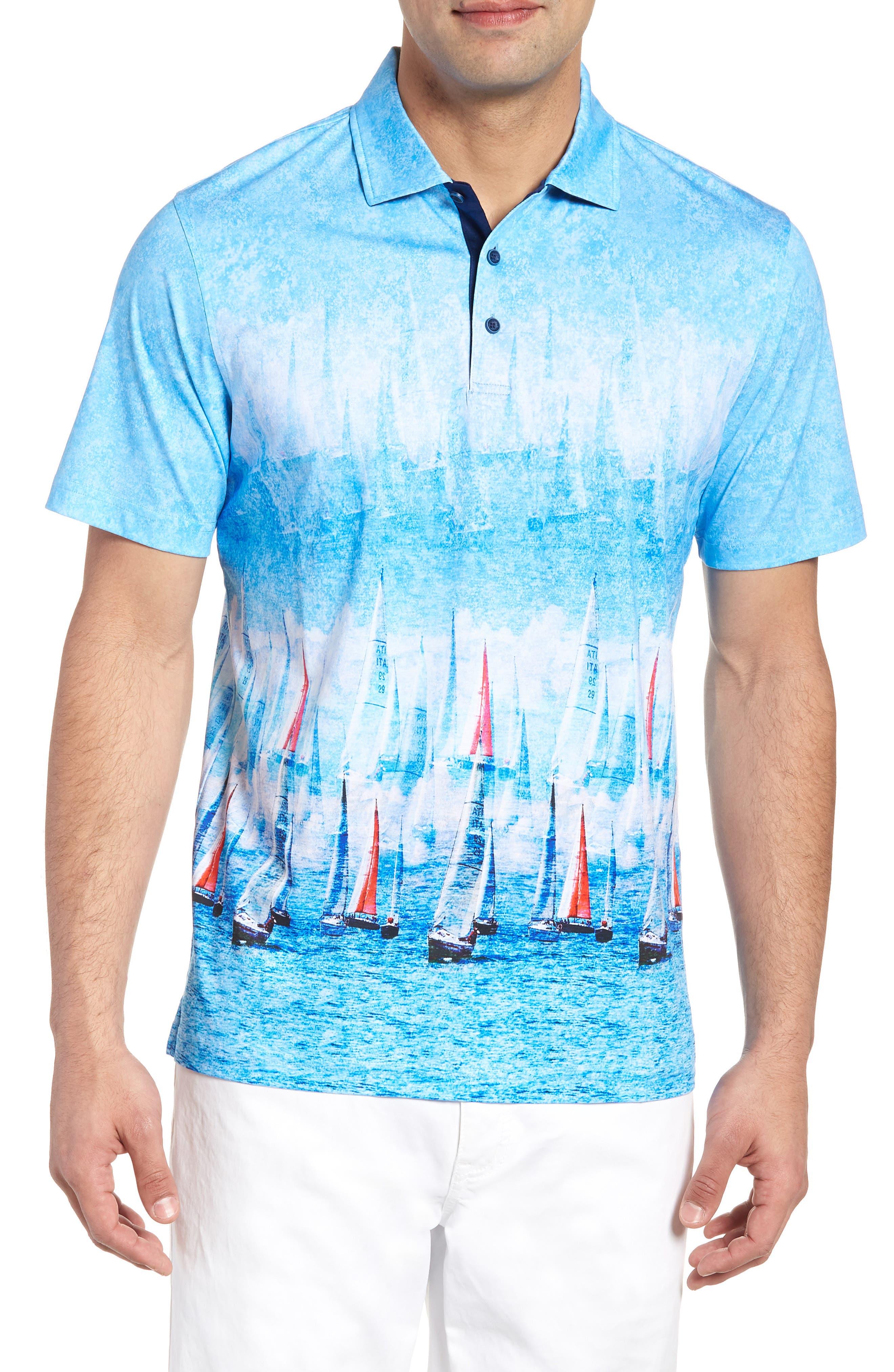 Knit Polo,                         Main,                         color, Ocean