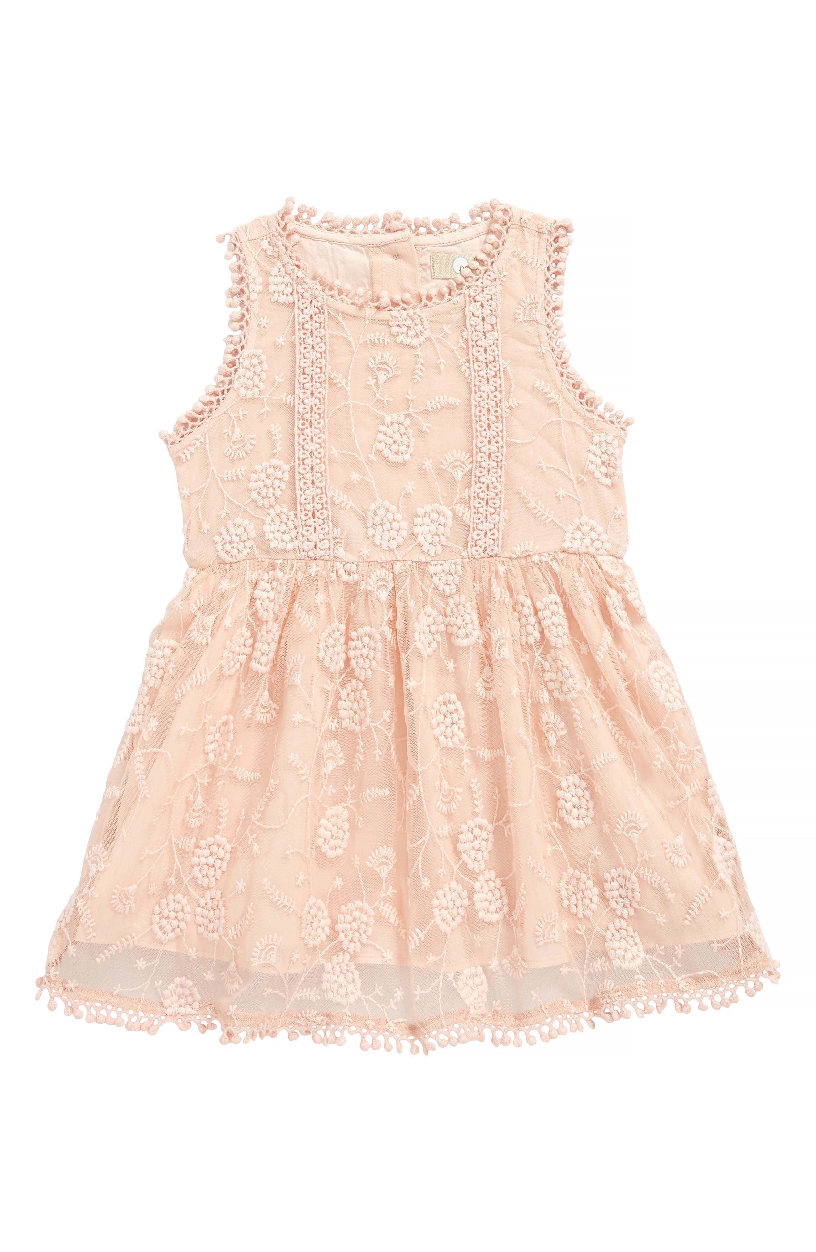 Alice Embroidered Lace Dress,                             Main thumbnail 1, color,                             Peach