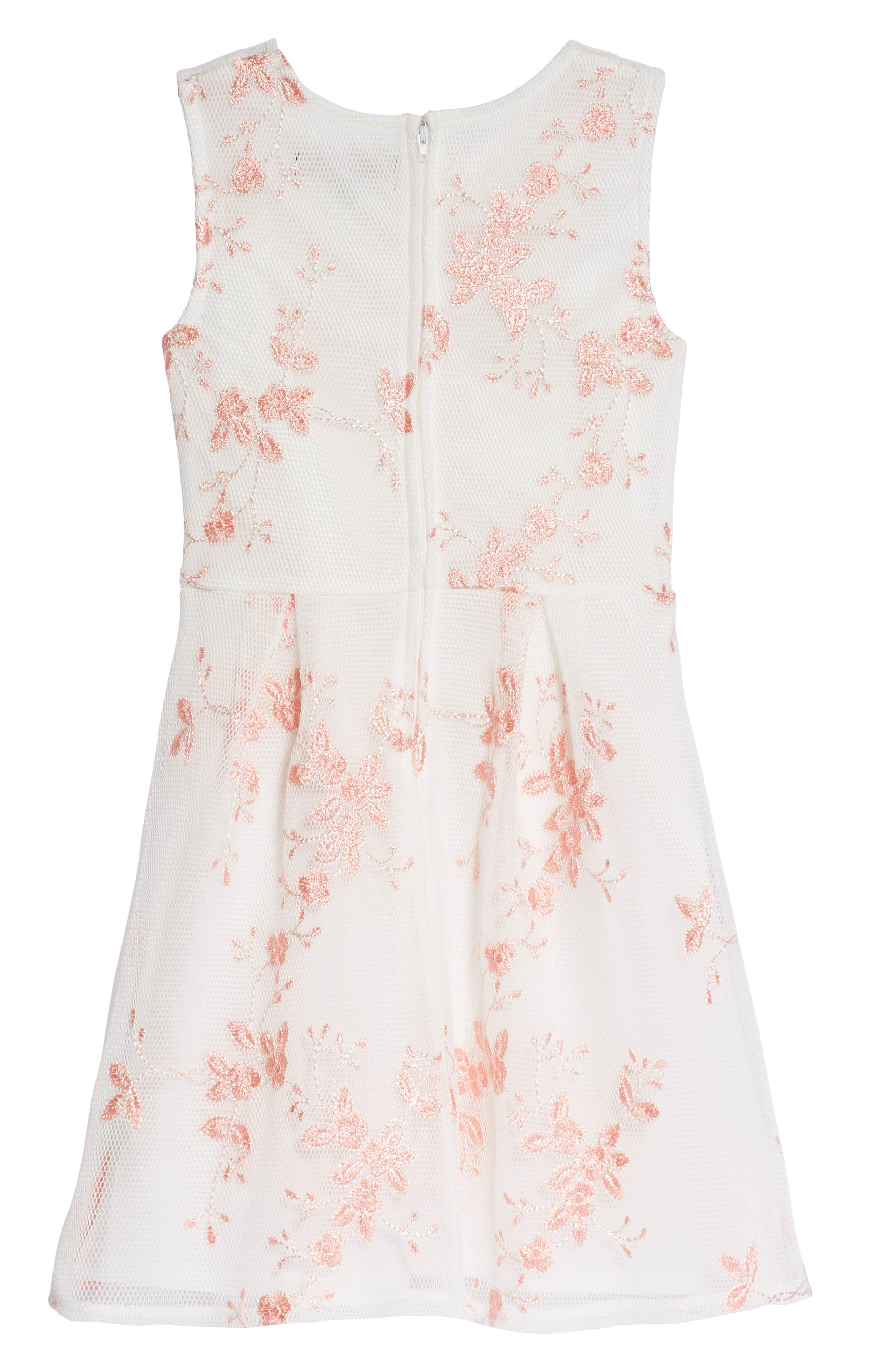 Embroidered Mesh Skater Dress,                             Alternate thumbnail 2, color,                             White/ Coral